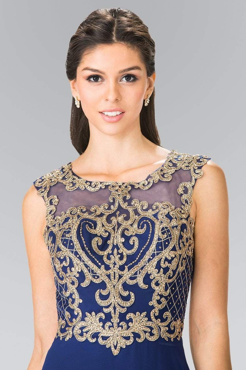 Elizabeth K - Gold Lace Appliqued Chiffon A-Line Dress GL2316SC