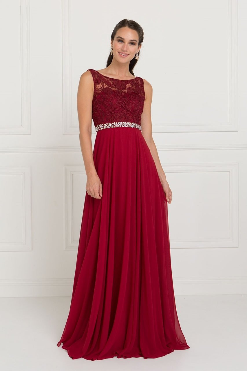 Elizabeth K - Jewel Accent Lace Top Chiffon Evening Dress GL2420SC