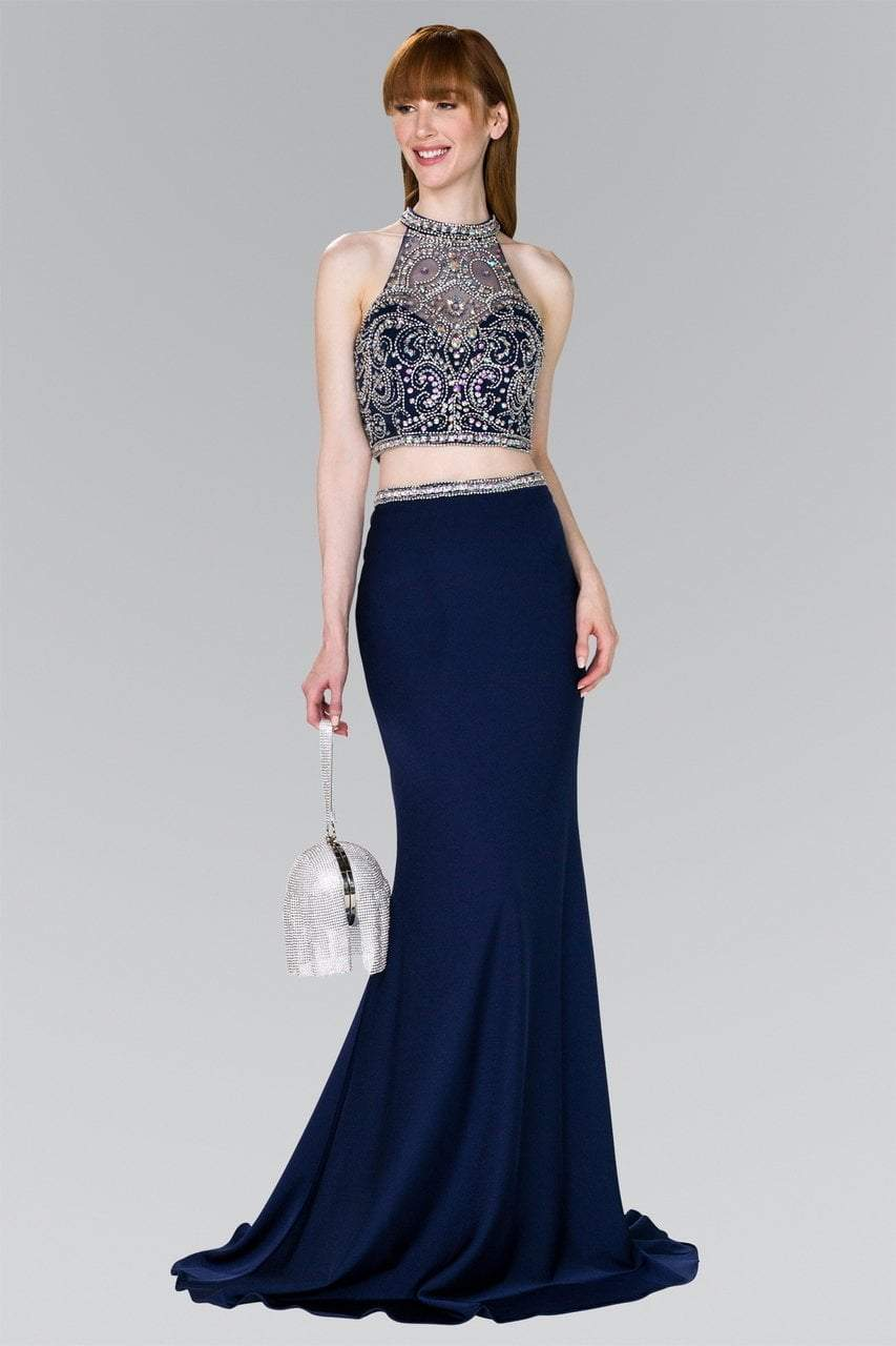 Elizabeth K - GL2424 Crystal Ornate Illusion High Neck Two-Piece Gown Special Occasion Dress XS / Navy