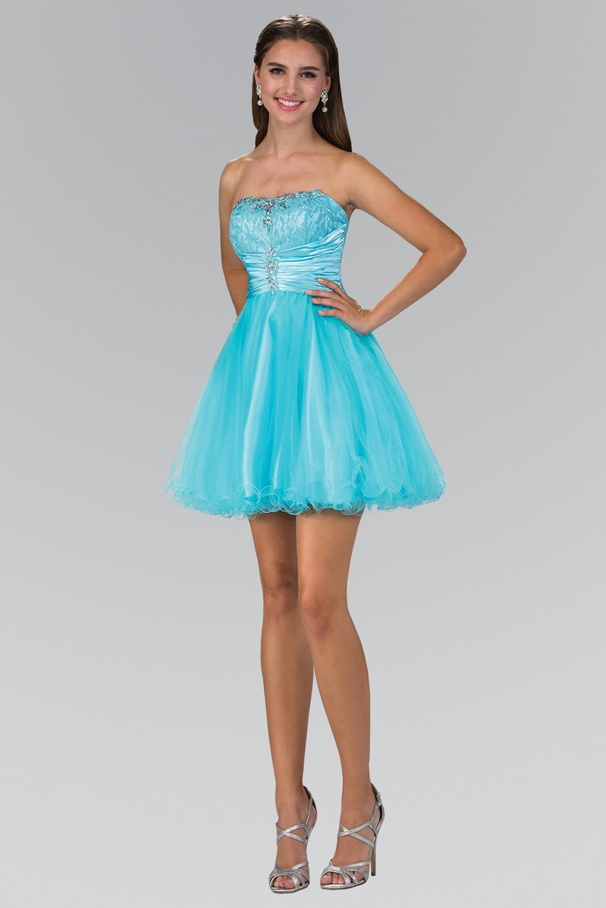 Elizabeth K - Strapless Pleated Waist Fit and Flare Dress GS1345SC
