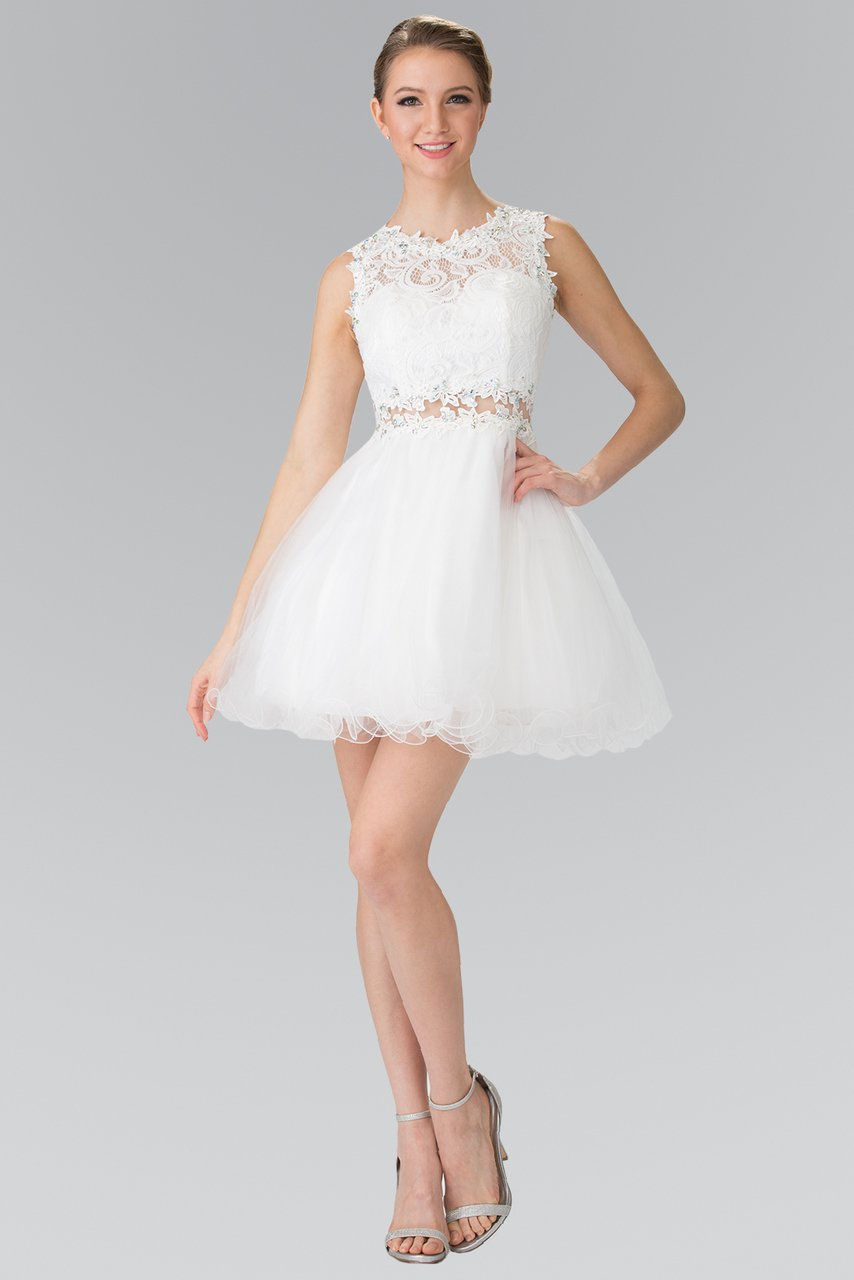 Elizabeth K - GS1427SC Embroidered Lace Cocktail Dress