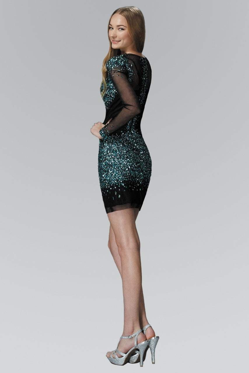 Elizabeth K - Jewel and Sequin Accented Short Dress GS2134SC
