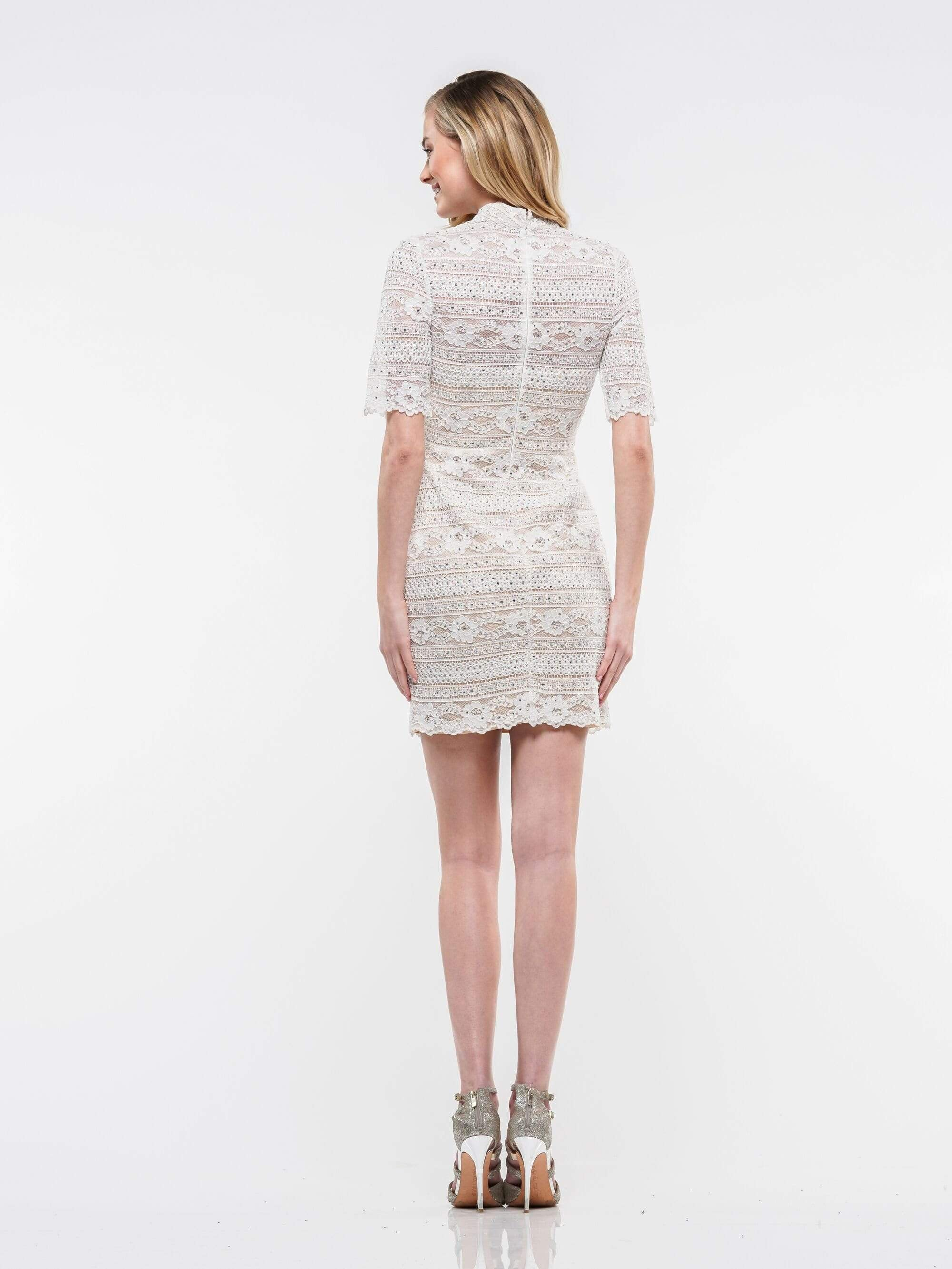 Colors Dress - 2162 Lace High Neck Sheath Dress in White