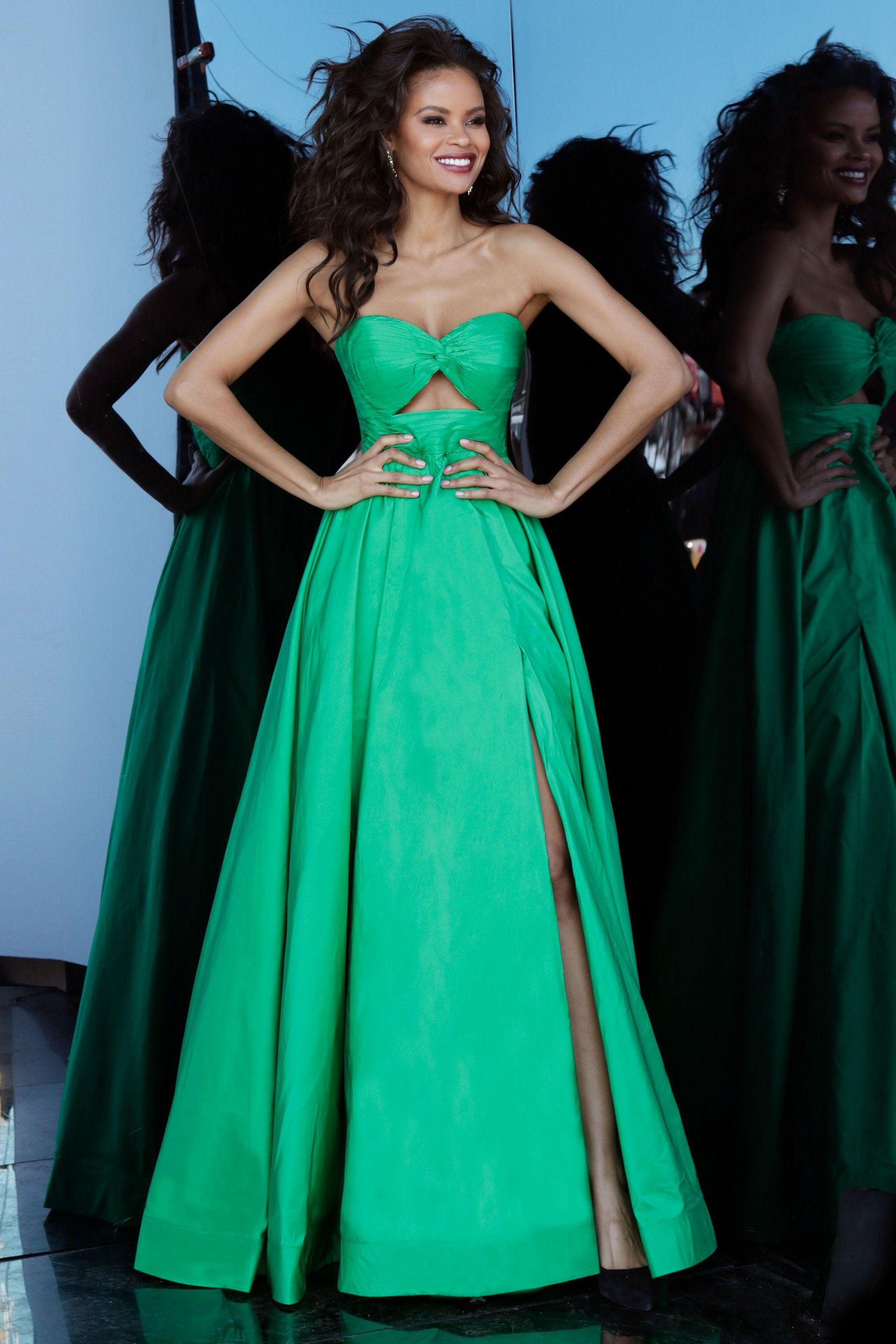 Jovani - 67646 Strapless Pleated Bow Accent Bodice Prom Dress In Green