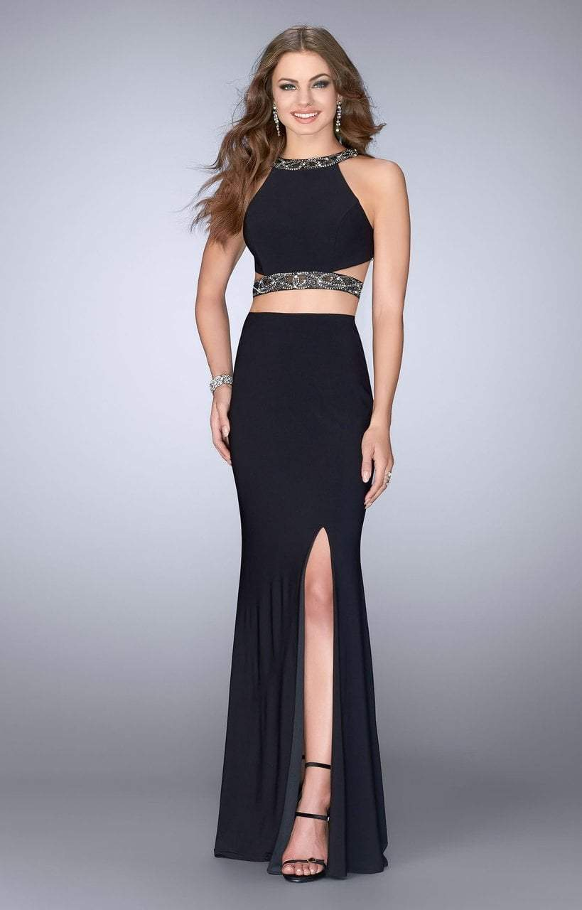 La Femme - Beaded Strappy Two-Piece Jersey High Slit Gown 24414  In Black