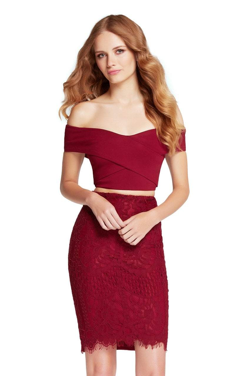 Harper And Lemon - 22104 Off-Shoulder Interweaved Two-Piece Dress Special Occasion Dress 000 / Burgundy
