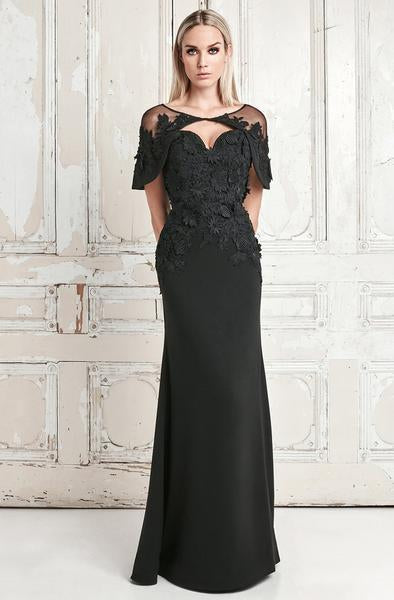 Daymor Couture - Floral Applique Sweetheart Sheath Dress With Cape 776 In Black