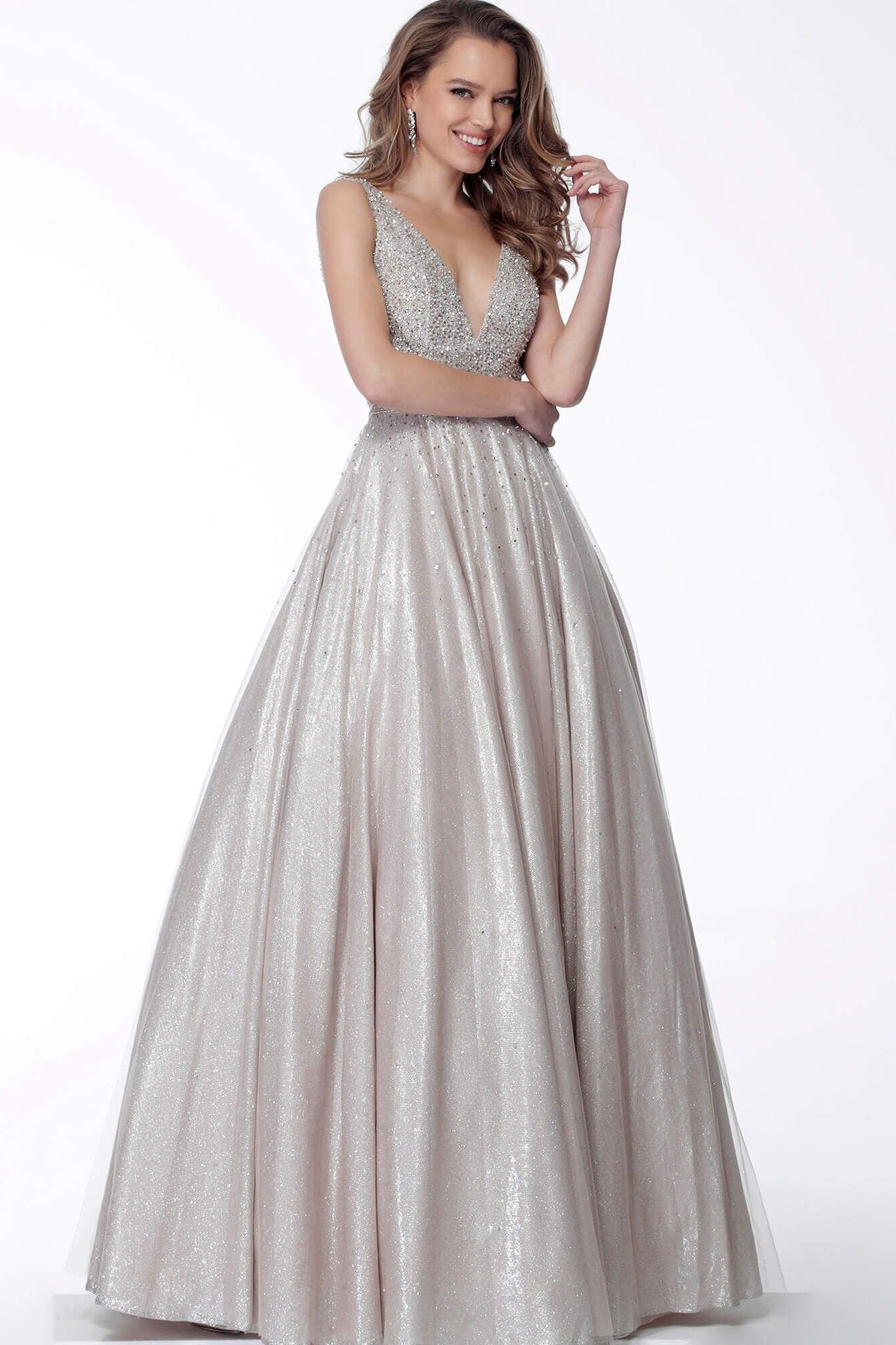 Jovani - 66863 V-Neck and Back Glittered A-line Dress In Gray and Silver