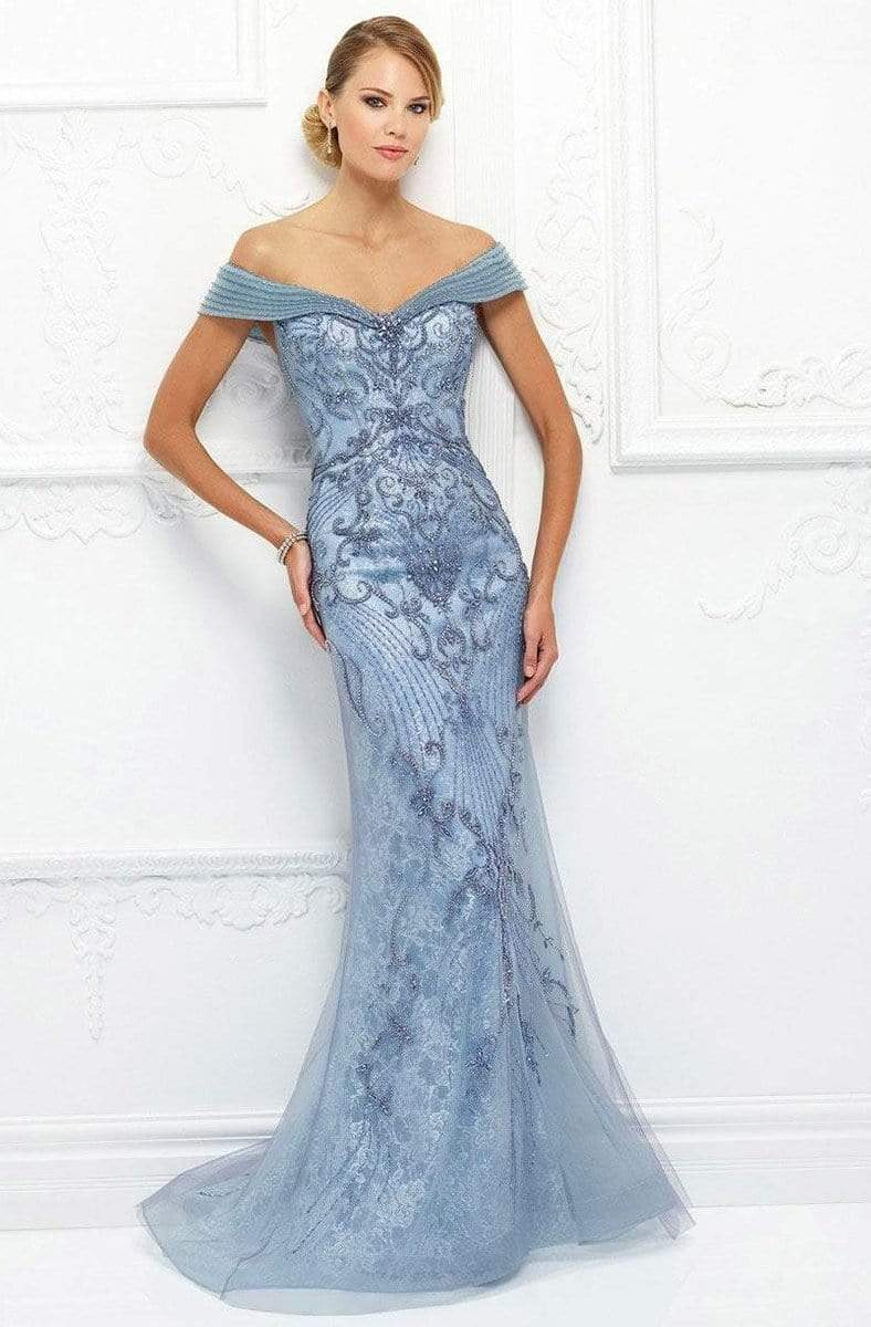 Ivonne D for Mon Cheri - 118D08 Beaded Lace Dress With Tulle Overlay Evening Dresses 4 / Light Periwinkle