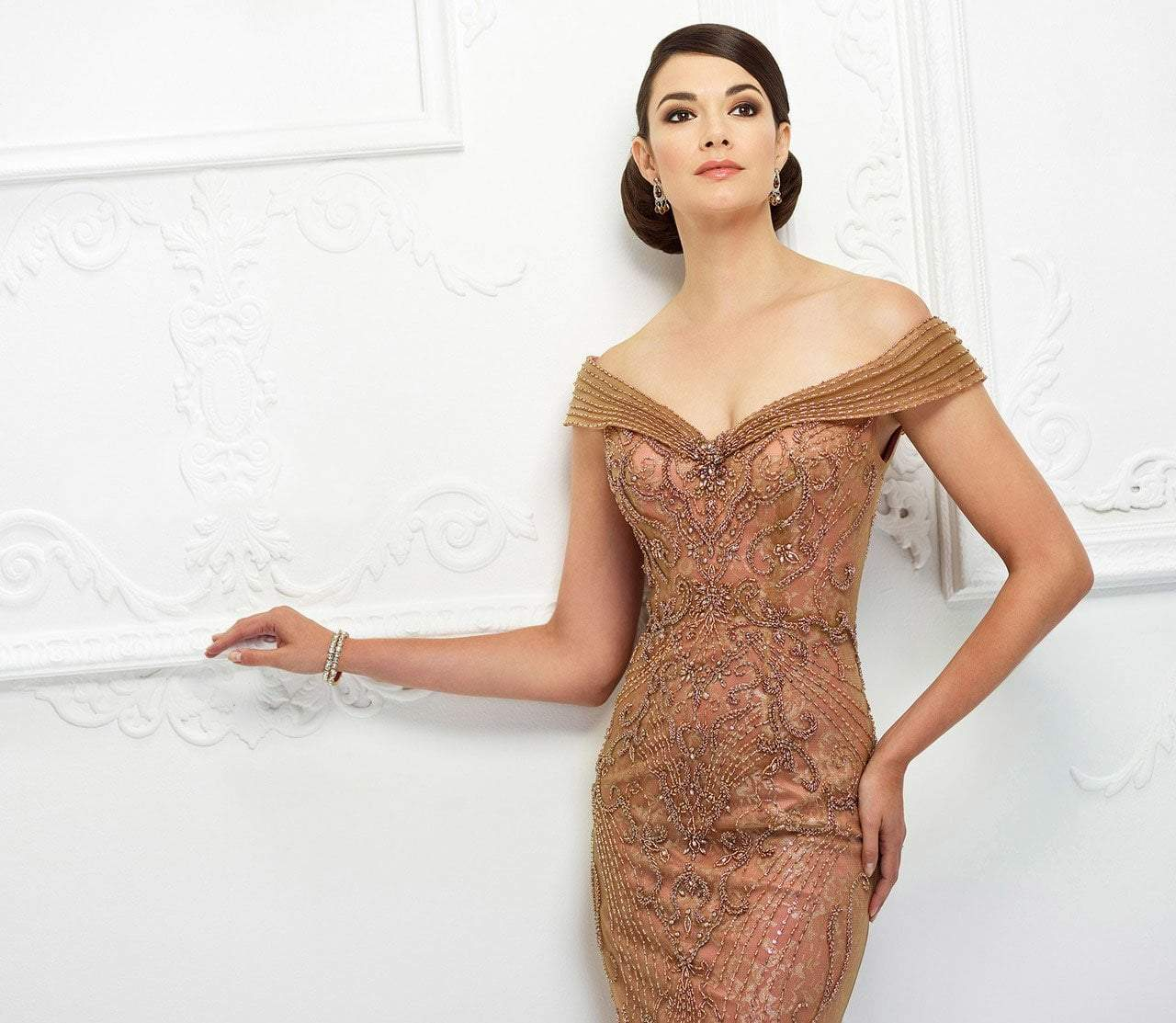 Ivonne D for Mon Cheri - 118D08 Beaded Lace Dress With Tulle Overlay In Brown