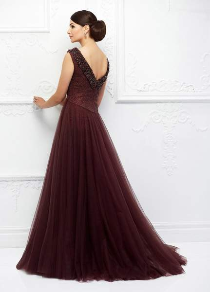 Ivonne D for Mon Cheri - Fitted Beaded Gown With Ballgown Overskirt 118D10 - 1 pc Jasper Red in Size 6 Available CCSALE