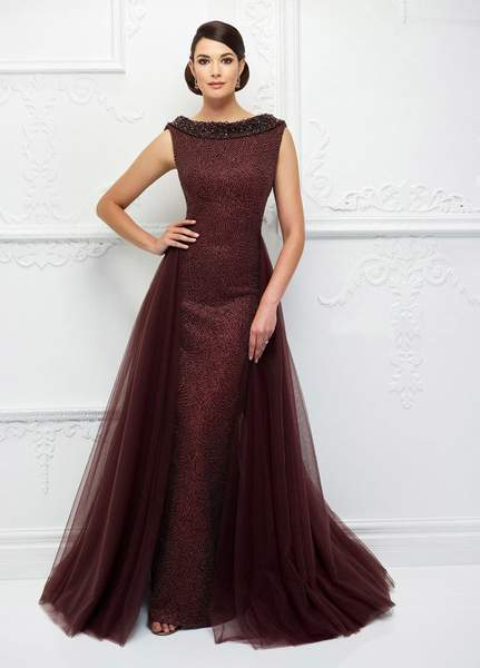 Ivonne D for Mon Cheri - Fitted Beaded Gown With Ballgown Overskirt 118D10 - 1 pc Jasper Red in Size 6 Available CCSALE 16 / Jasper Red