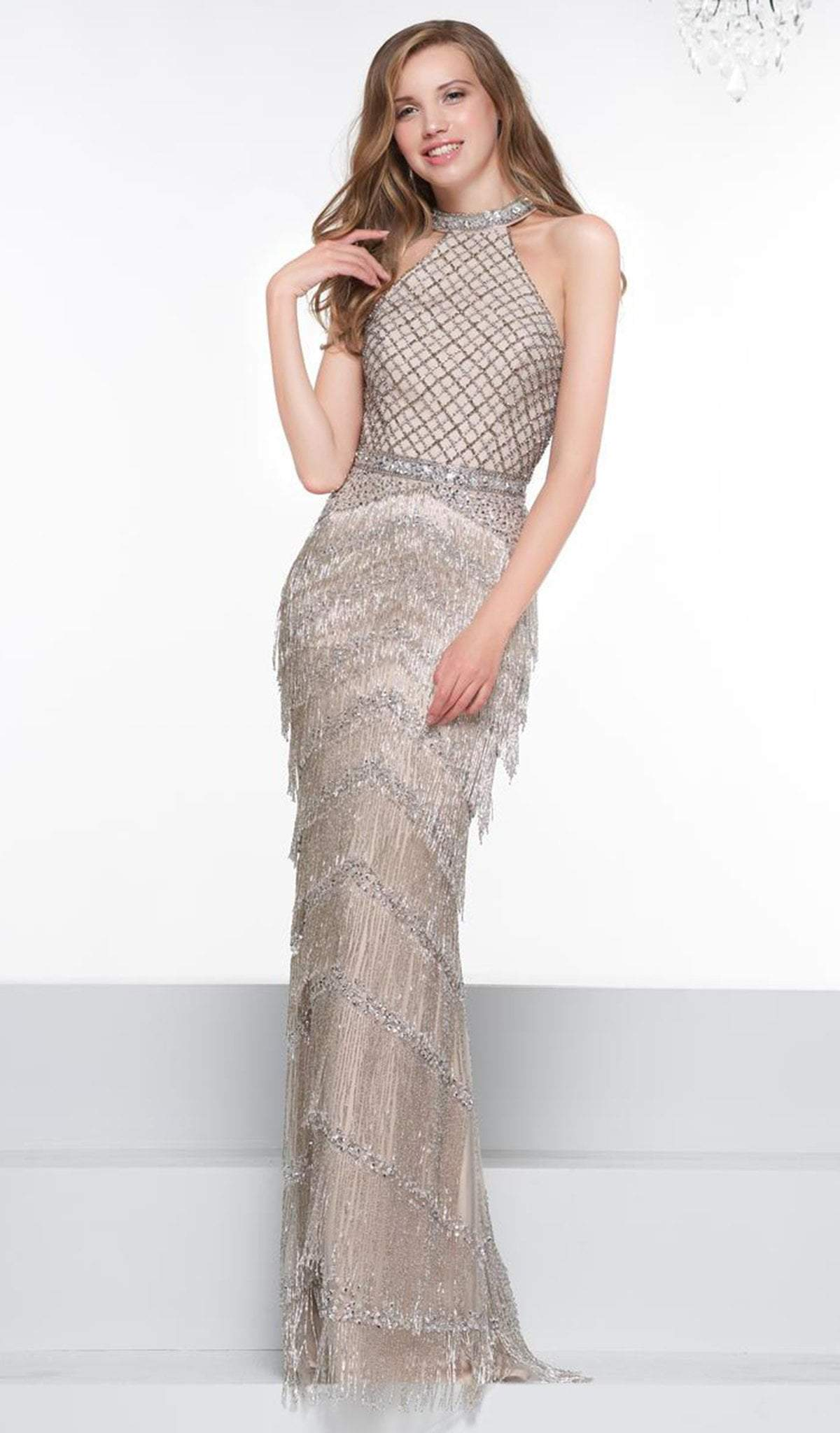 Colors Couture - J074 Beaded Halter Fringe Sheath Dress In Silver and Neutral