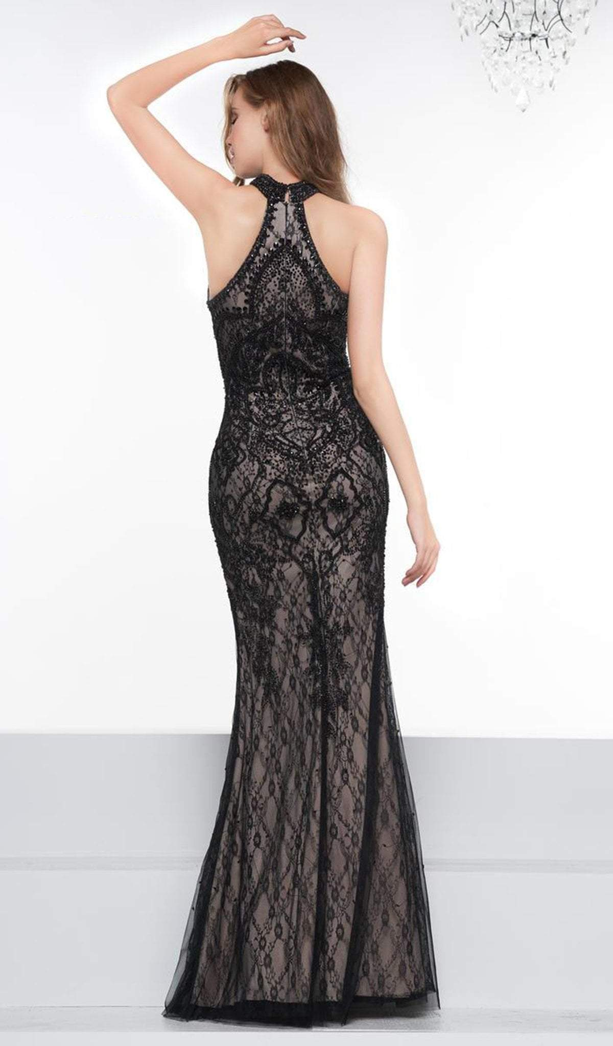 Colors Couture - Lace High Halter Dress With Overskirt J081SC