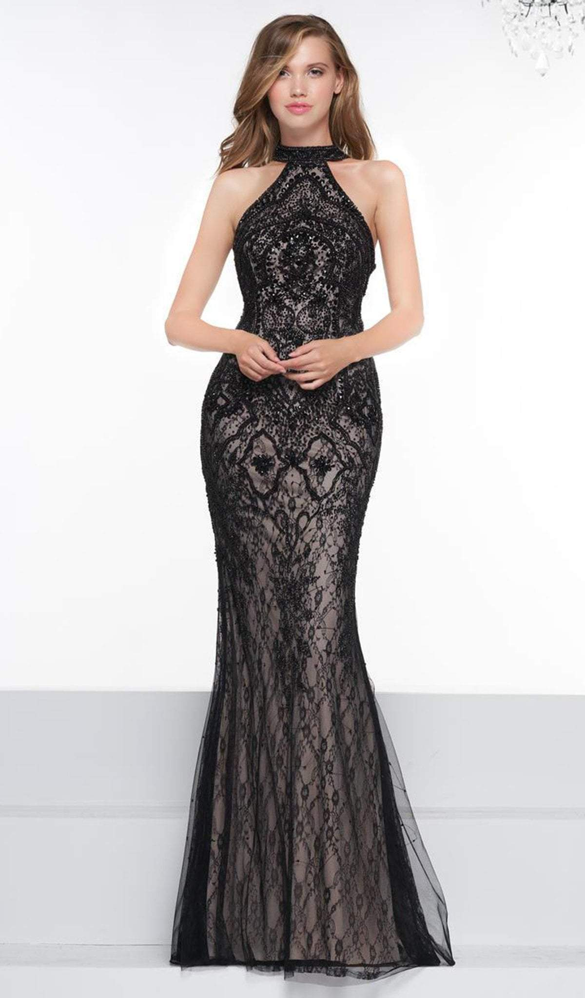 Colors Couture - J081 Lace High Halter Trumpet Dress With Overskirt In Black and Neutral