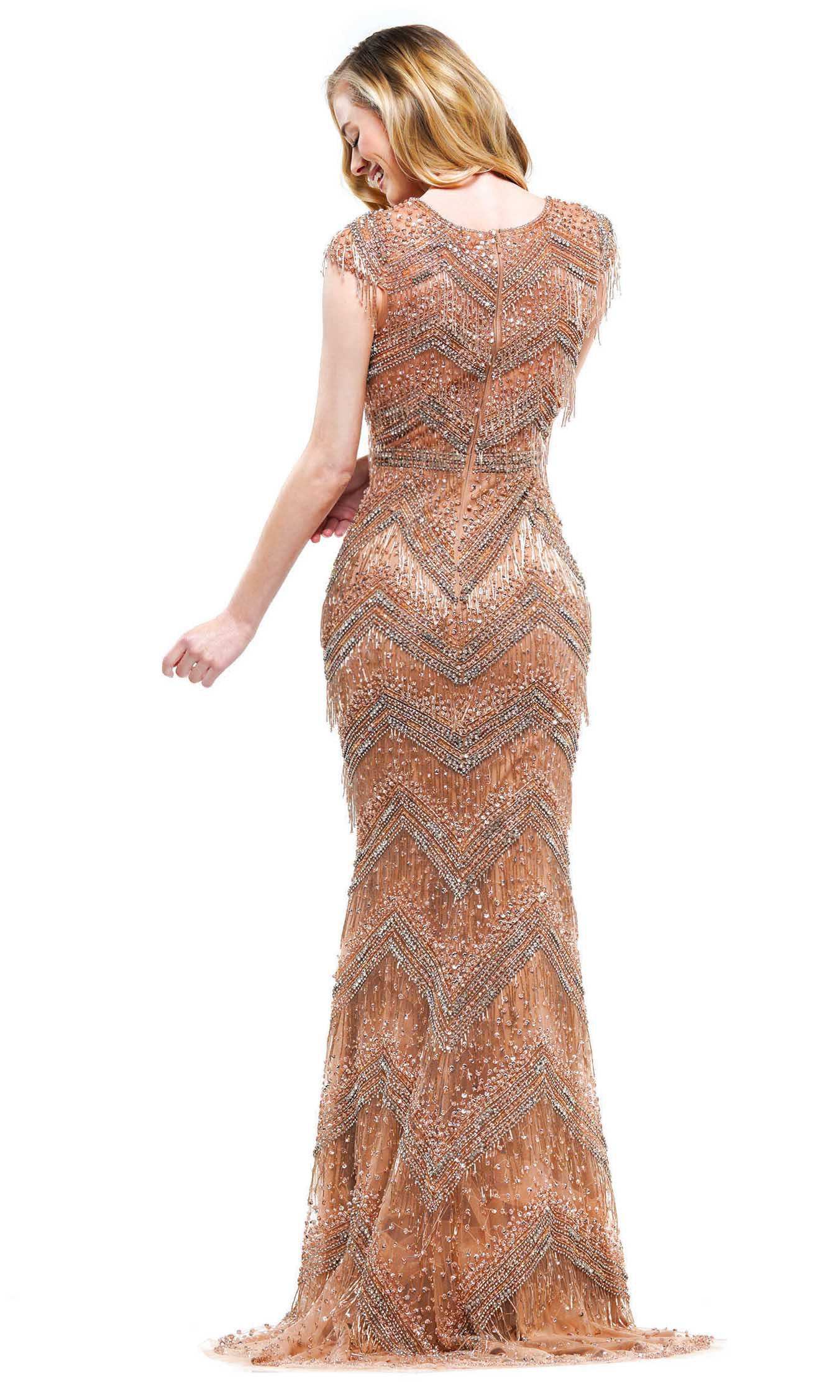 Colors Dress - J110SC Deep V-neck Beaded Fitted Dress
