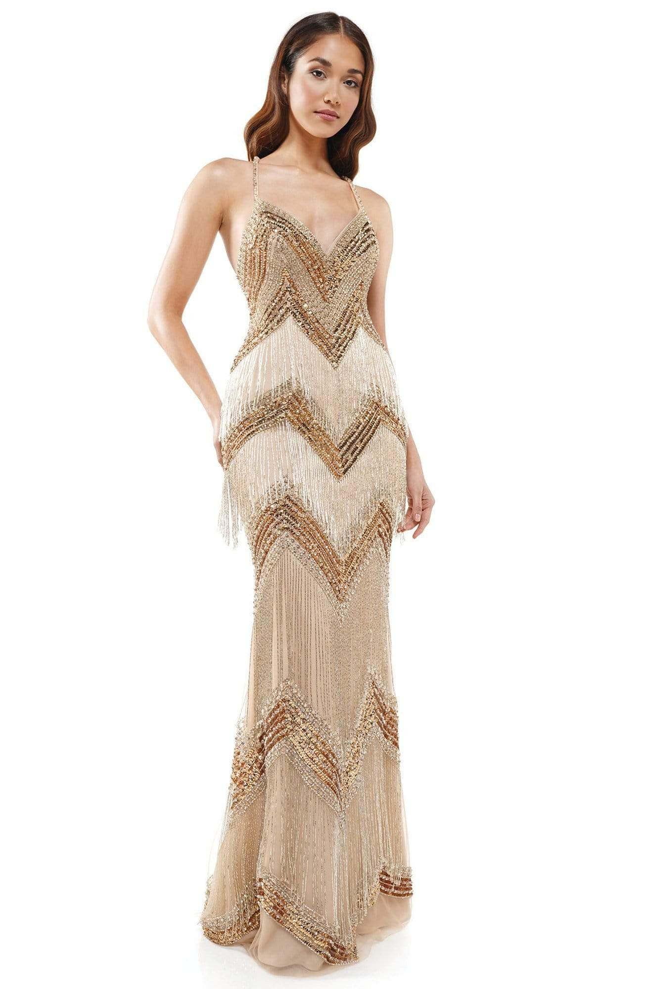 Colors Couture - J118 Embedded Sweetheart Column Dress In Gold