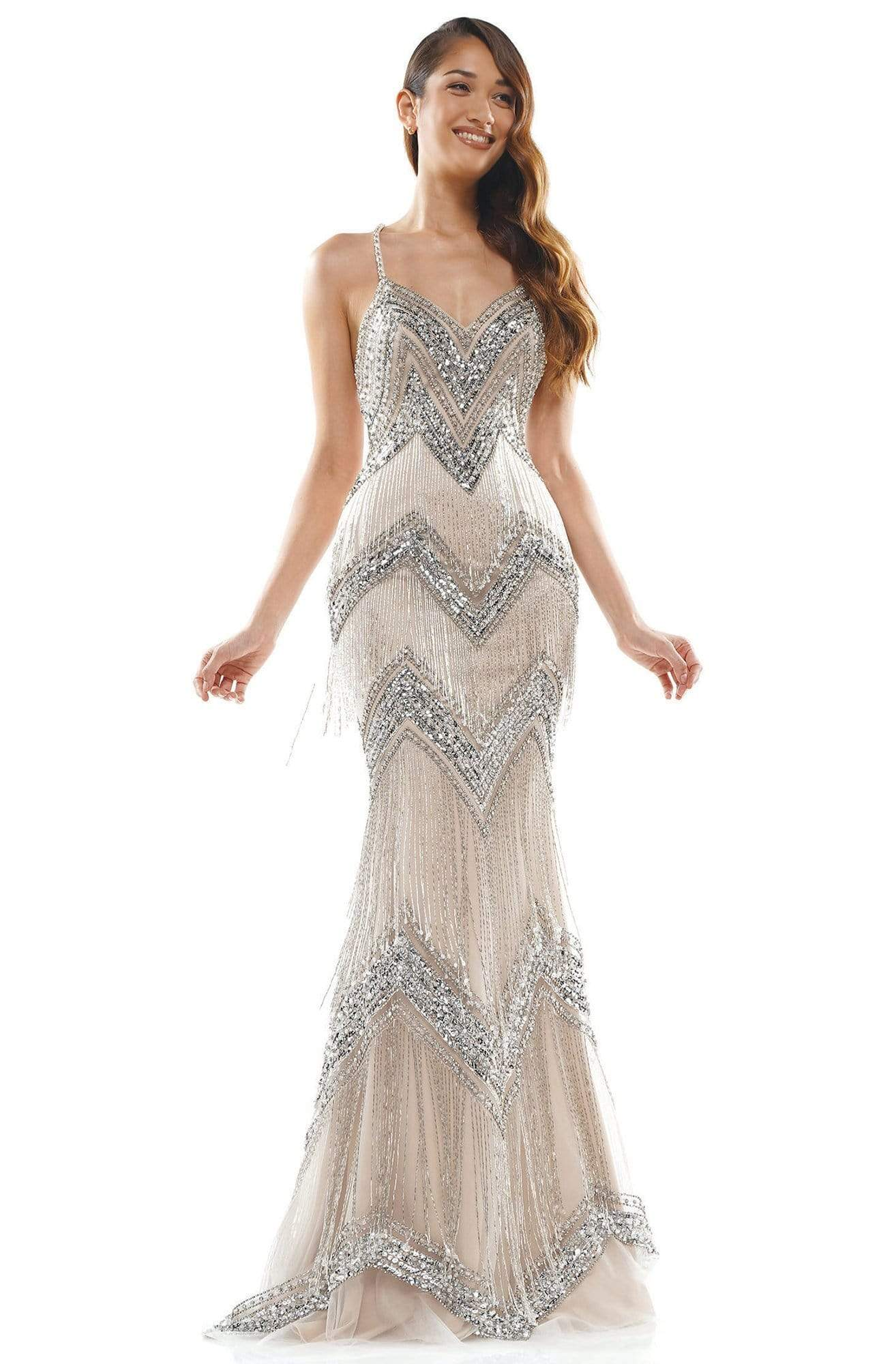 Colors Couture - J118 Embedded Sweetheart Column Dress In Silver and Neutral