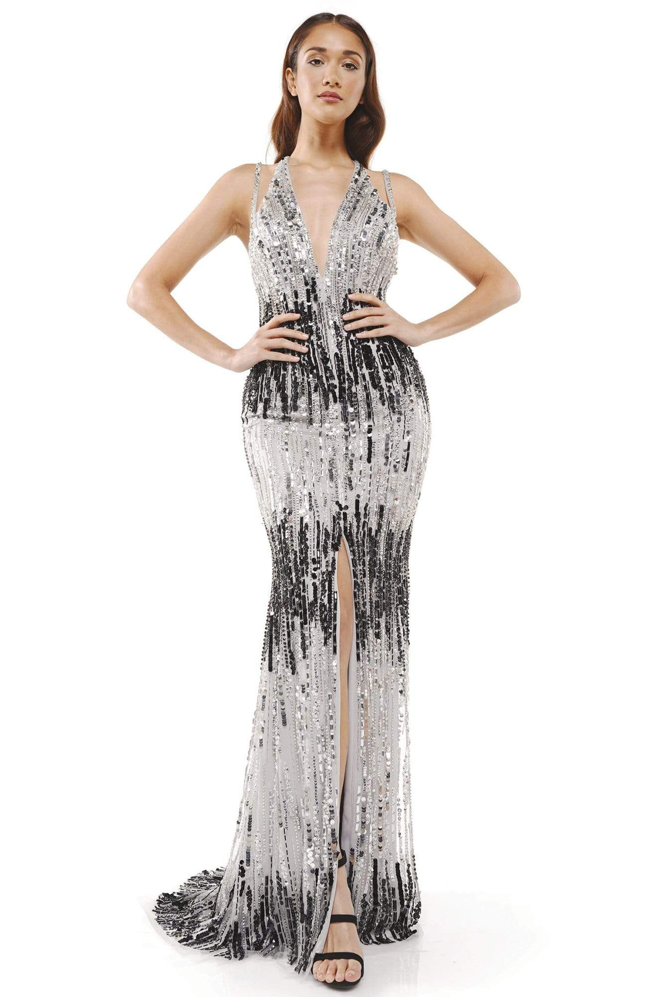 Colors Couture - J125 Sequin Embellished Dress with Slit in Silver and Black