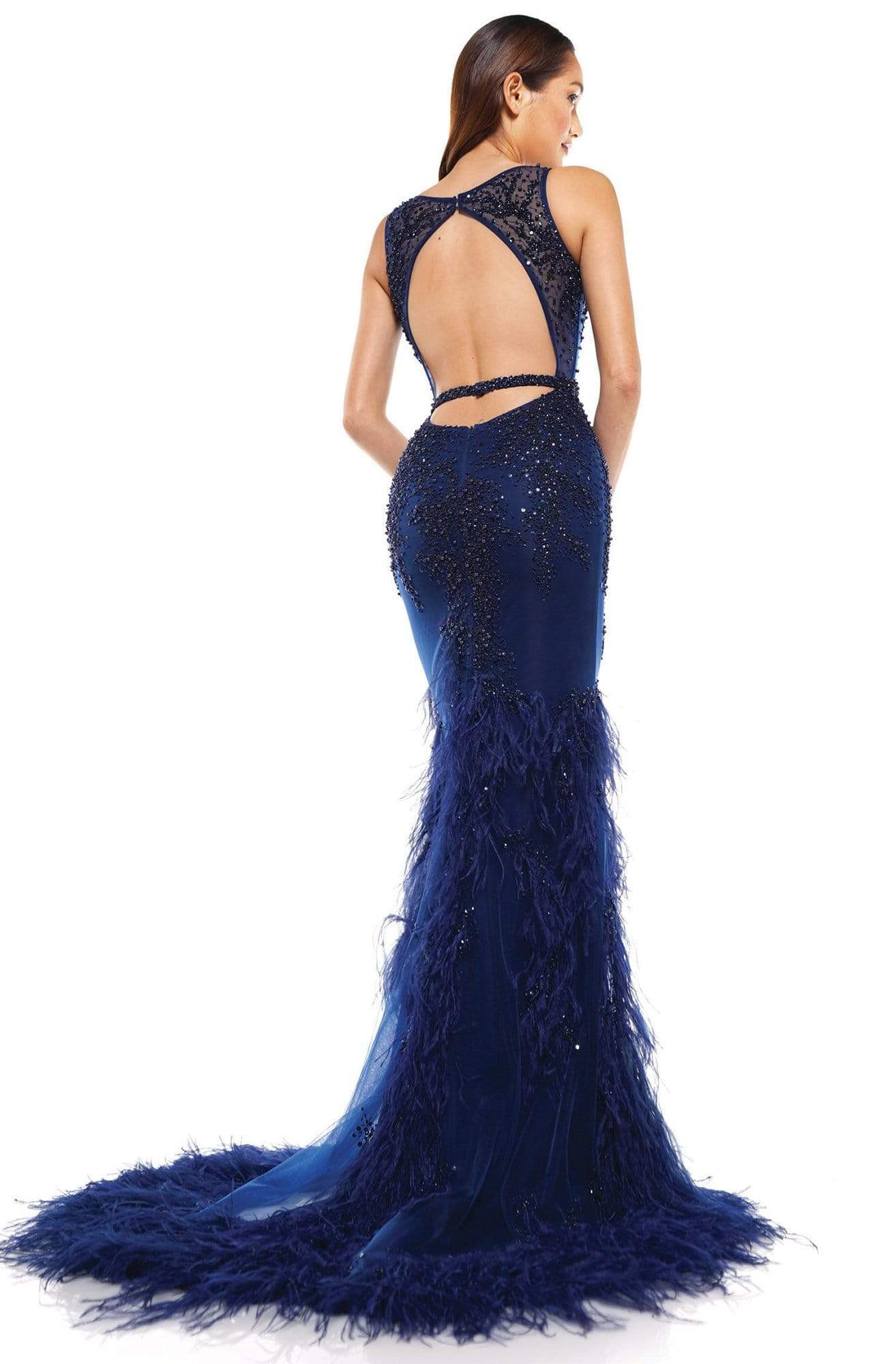 Colors Couture - J129 Embellished and Feathered Trumpet Dress In Blue