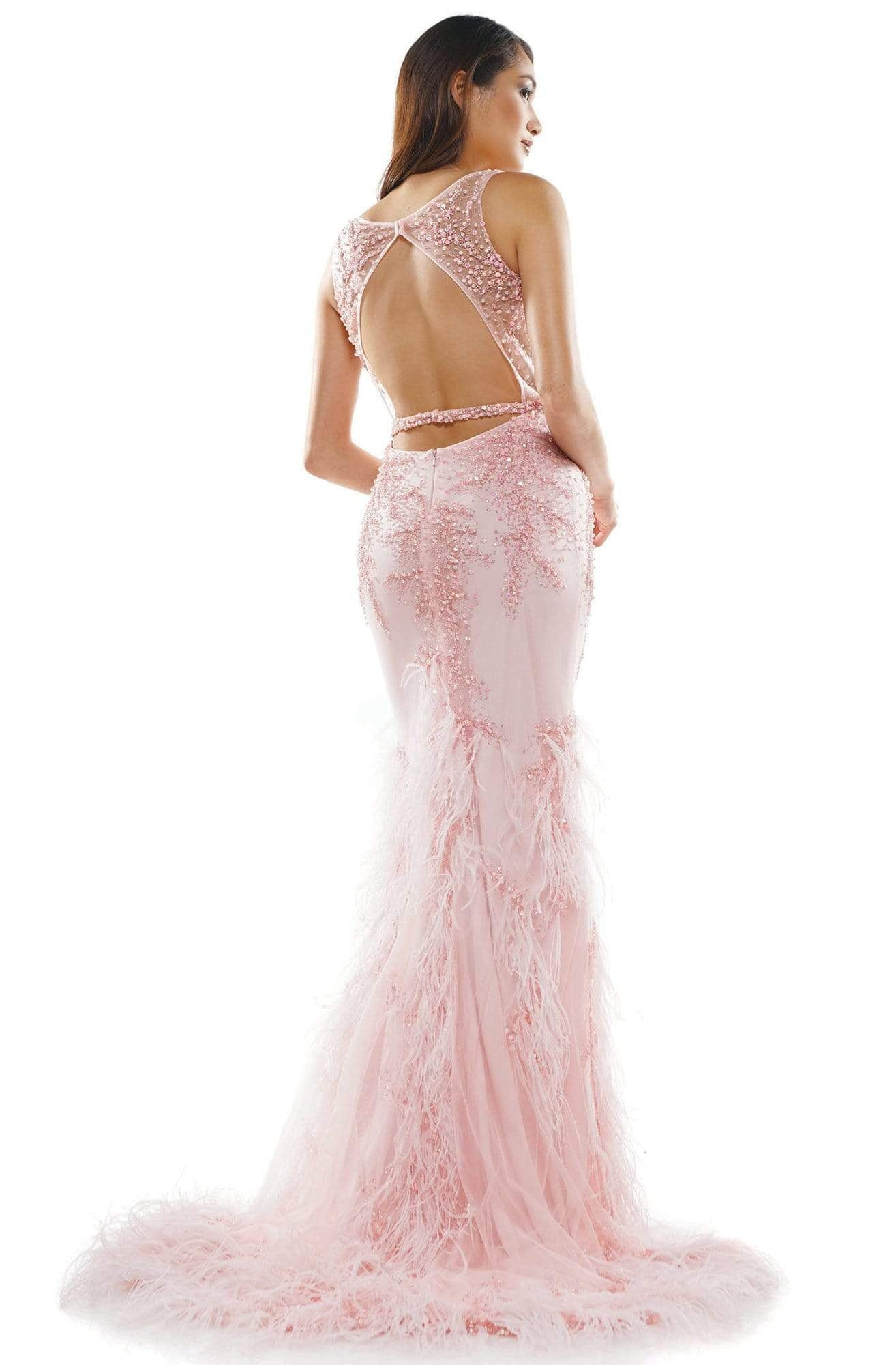 Colors Couture - J129 Embellished and Feathered Trumpet Dress In Pink