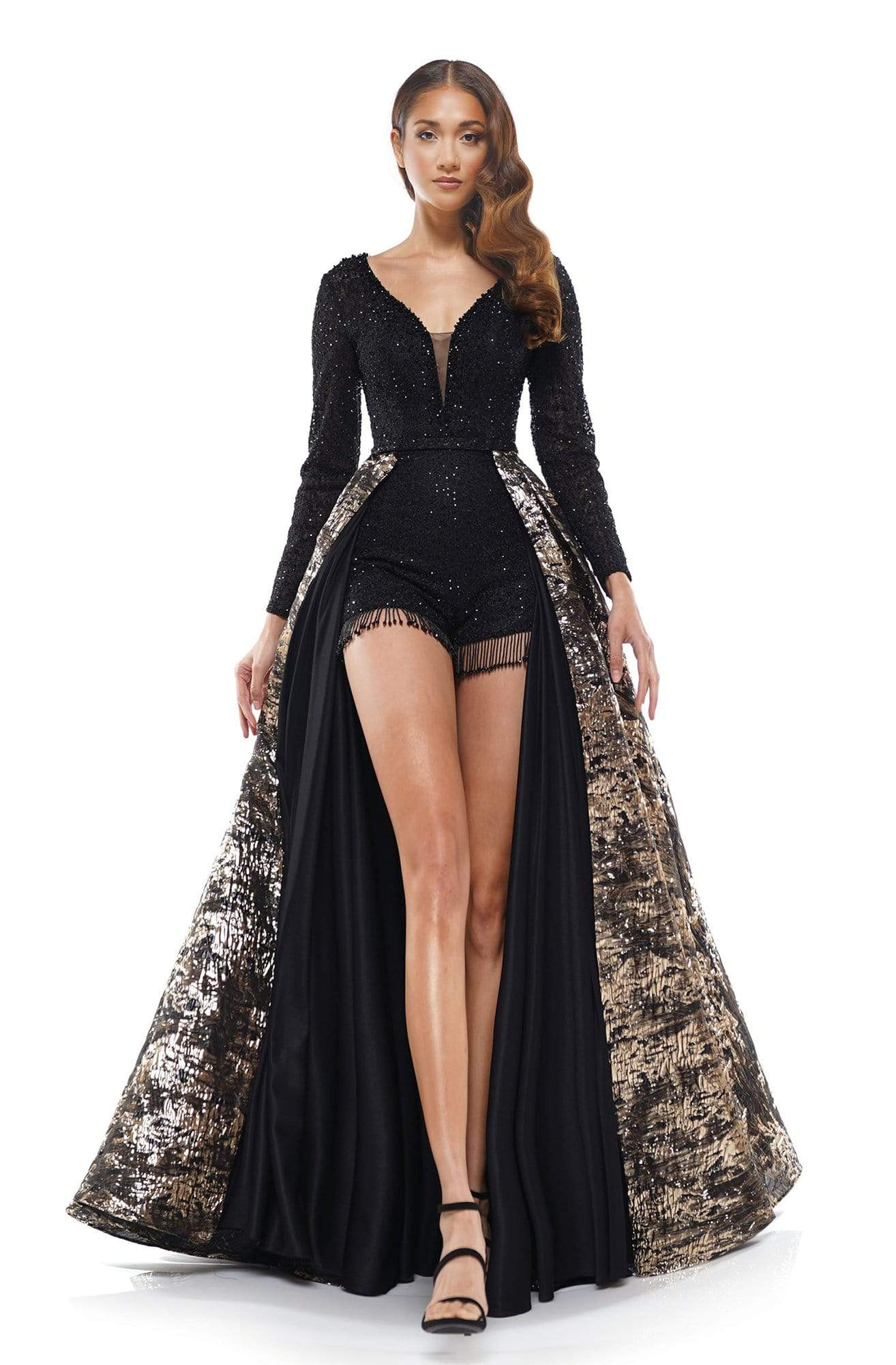 Colors Couture - J130 Long Sleeves Romper with Overskirt In Black and Gold