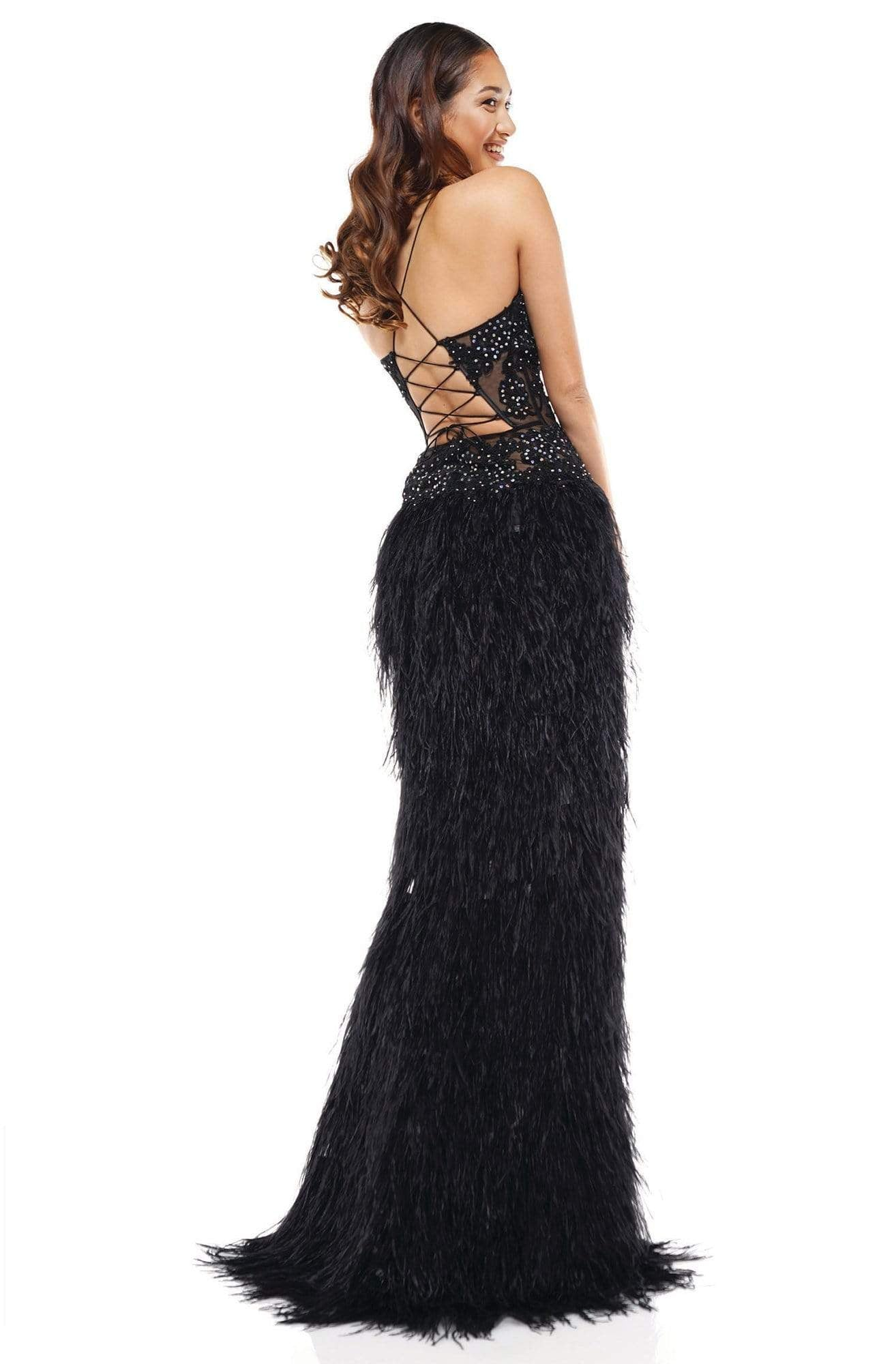 Colors Couture - J134 Feathered High Low Column Dress In Black