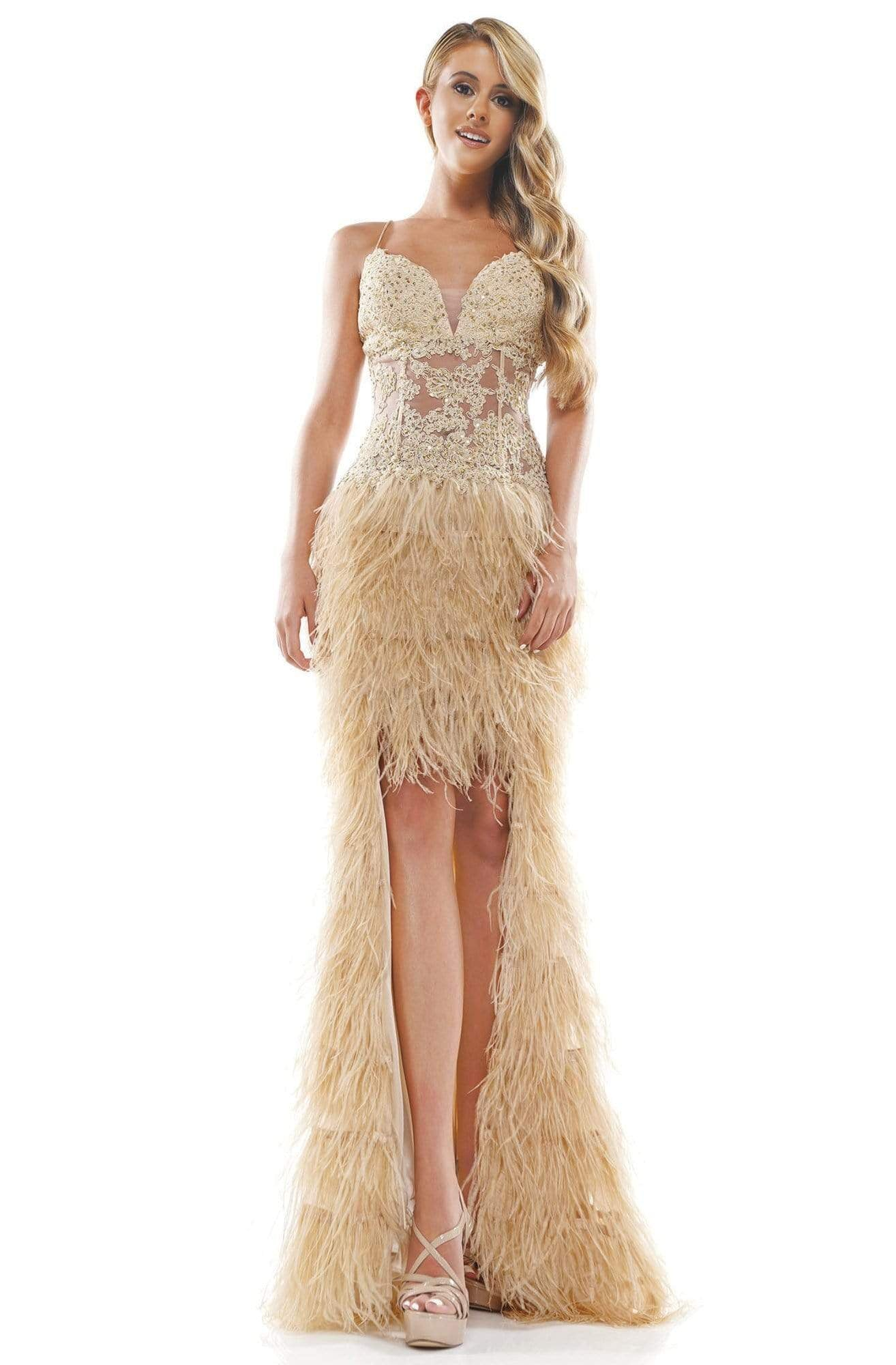 Colors Couture - J134 Feathered High Low Column Dress In Neutral
