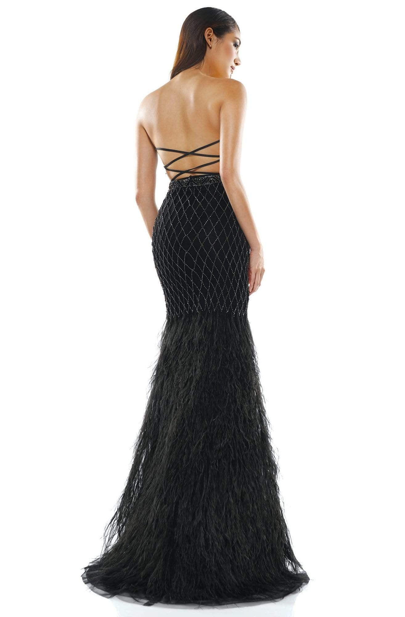 Colors Couture - J135 Strapless Feathered Trumpet Dress in Black