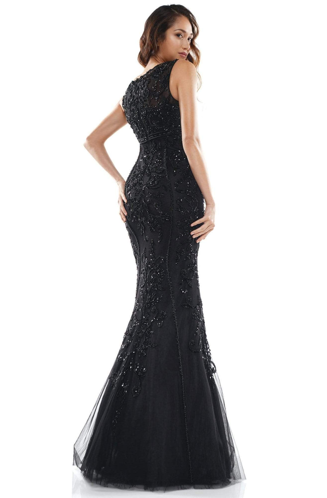 Colors Couture - J143 Sleeveless Beaded Long Trumpet Dress In Black