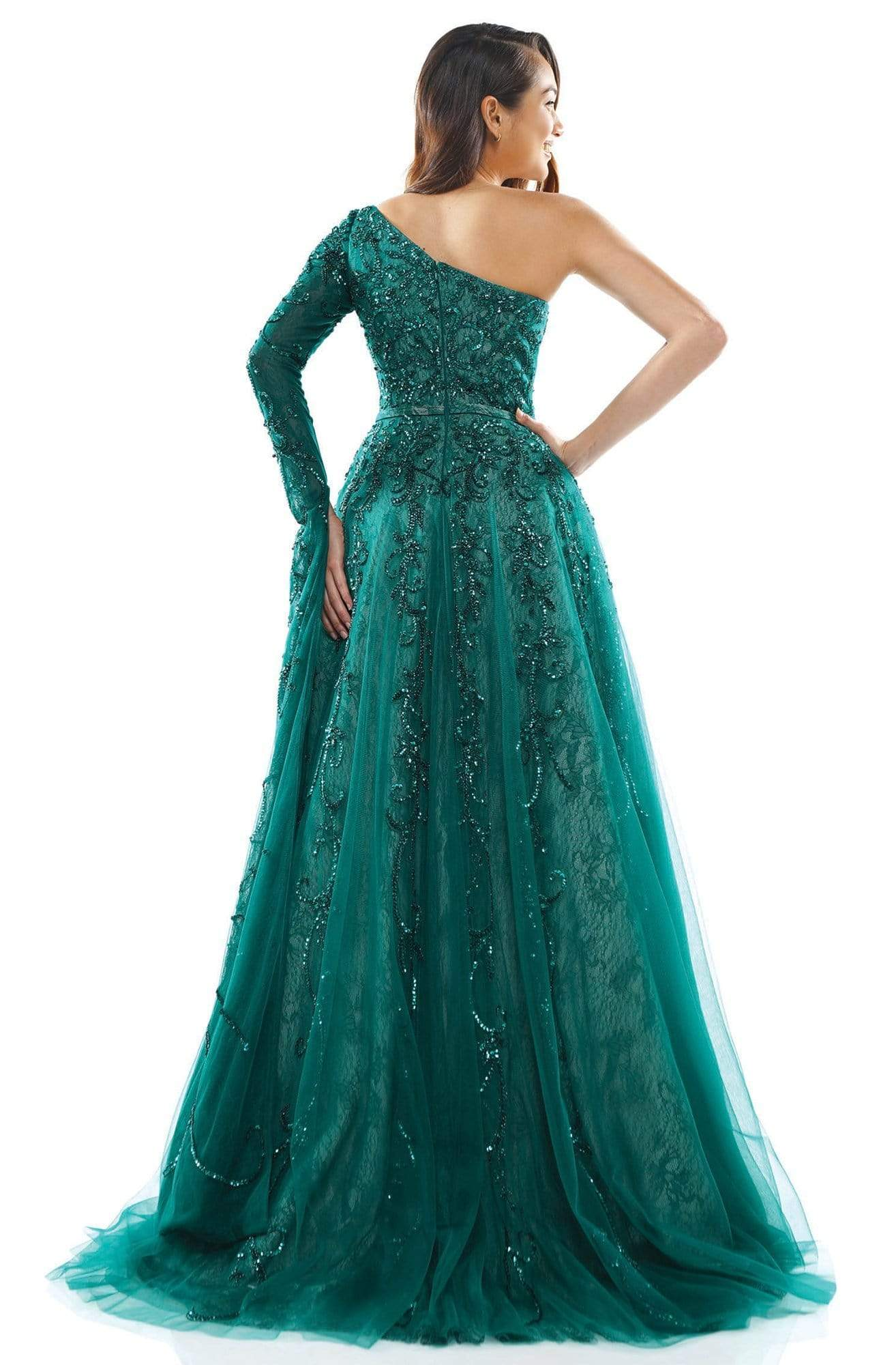 Colors Couture - J144 Asymmetric Beaded A-line Dress In Green