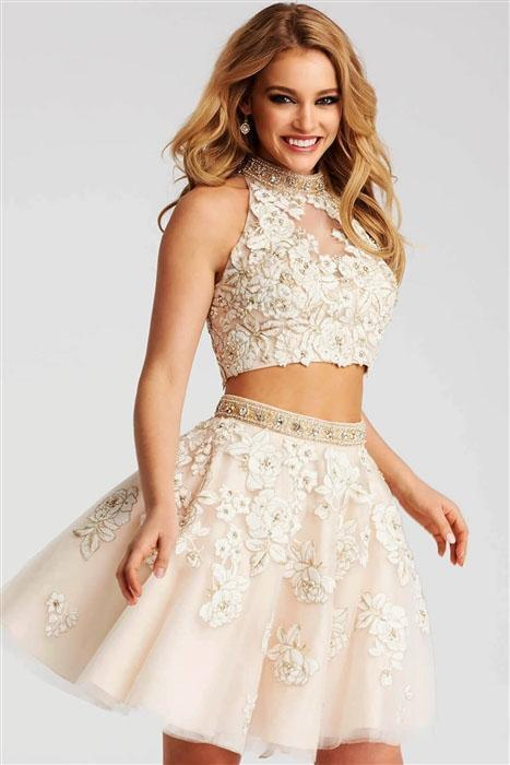 Jovani - 53087 Nude Lace Two Piece Short Dress in Ivory