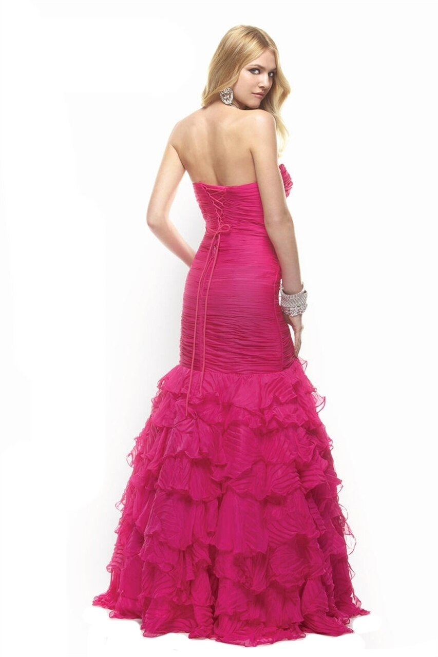 Janique - Strapless Fitted Ruffled Trumpet Gown JA1363 In Pink