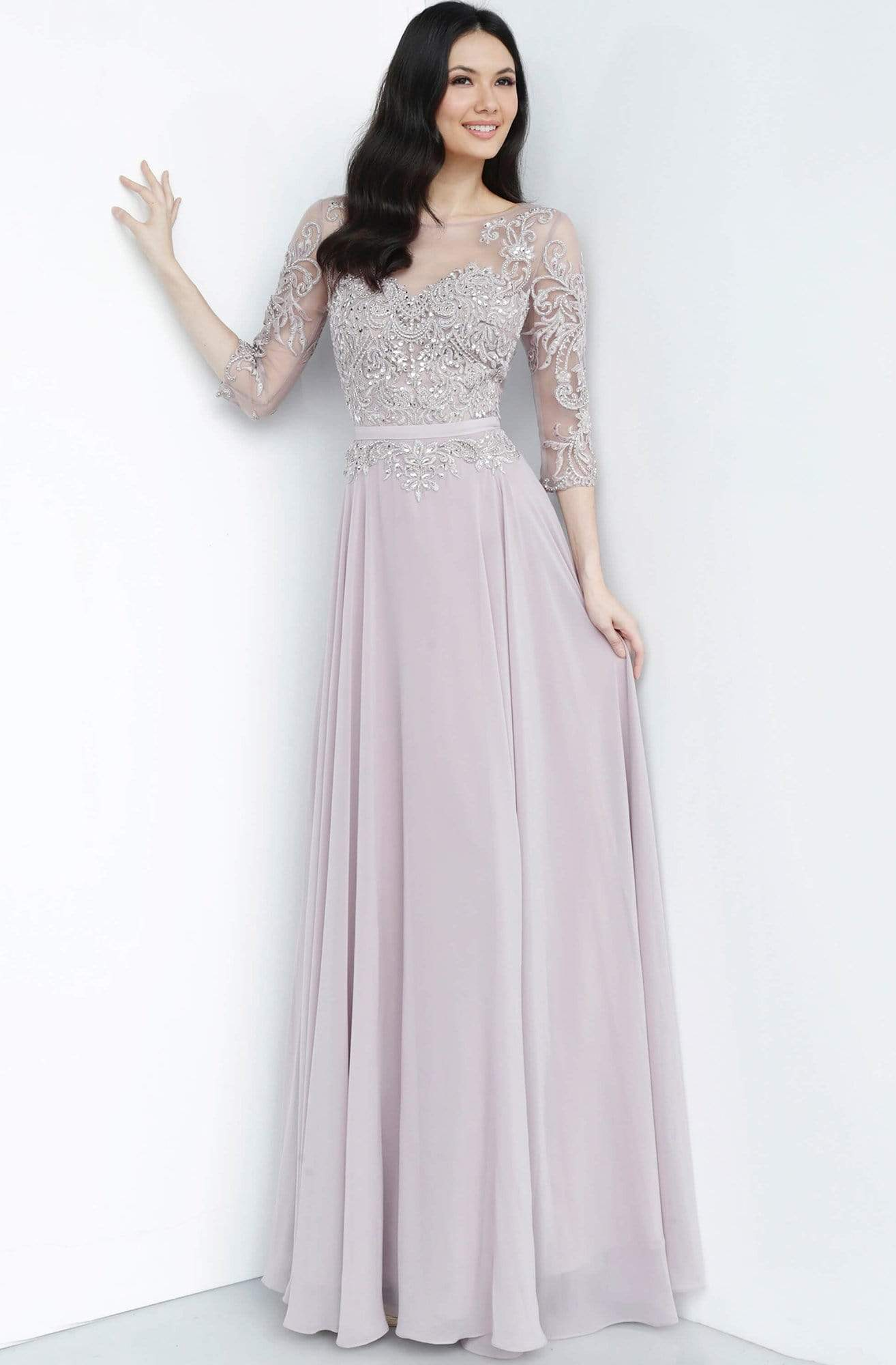 Jovani - JVN2167 Embroidered Illusion Bateau A-Line Dress Evening Dresses 00 / Mauve