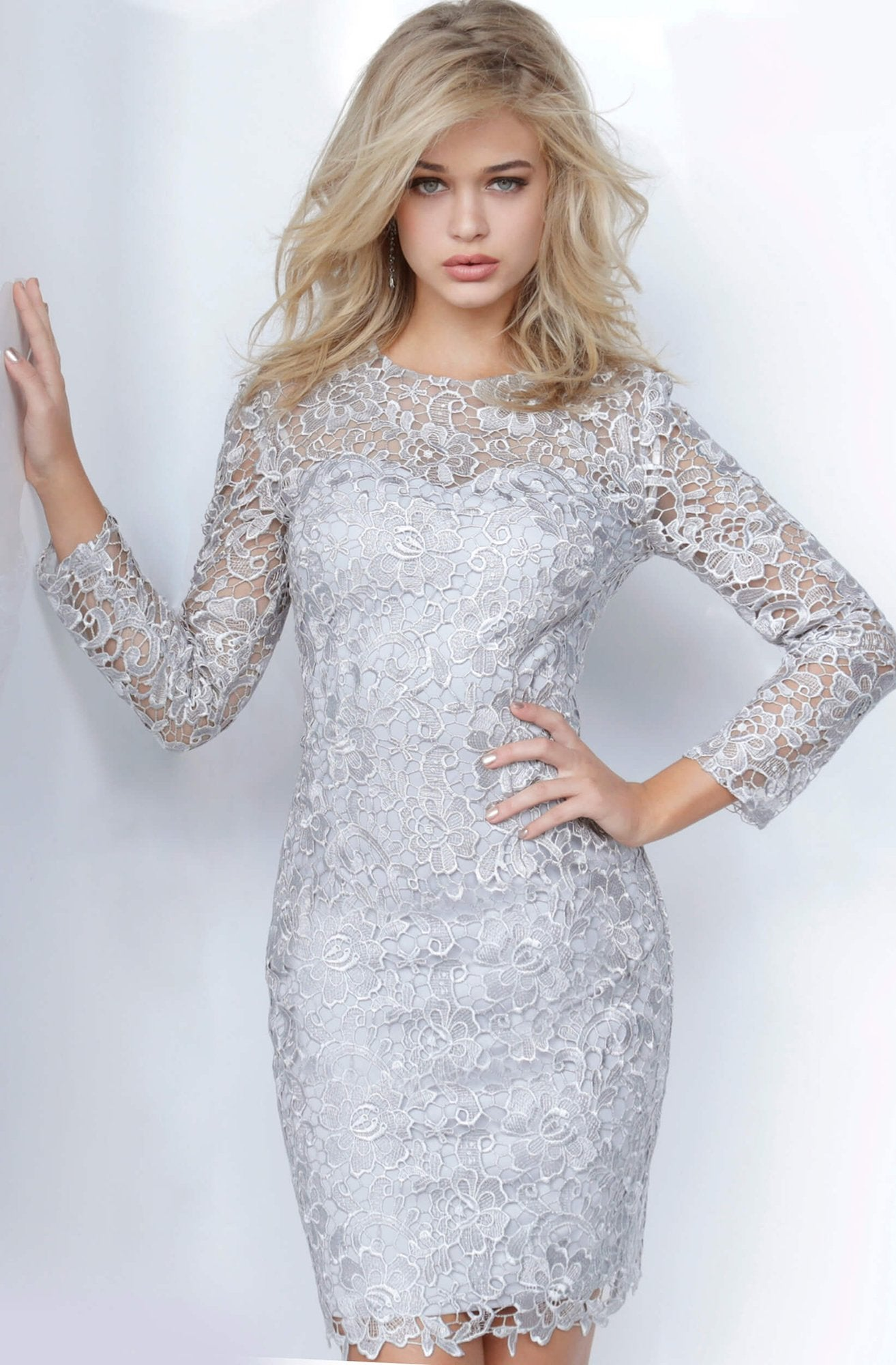 Jovani - Long Sleeve Jewel Neck Fitted Lace Dress JVN3217SC In Gray and Silver