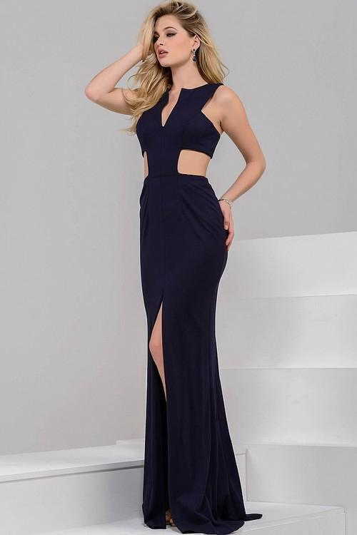 Jovani - Ravishing Long Dress with Side Cutout Bodice 39348 in Blue