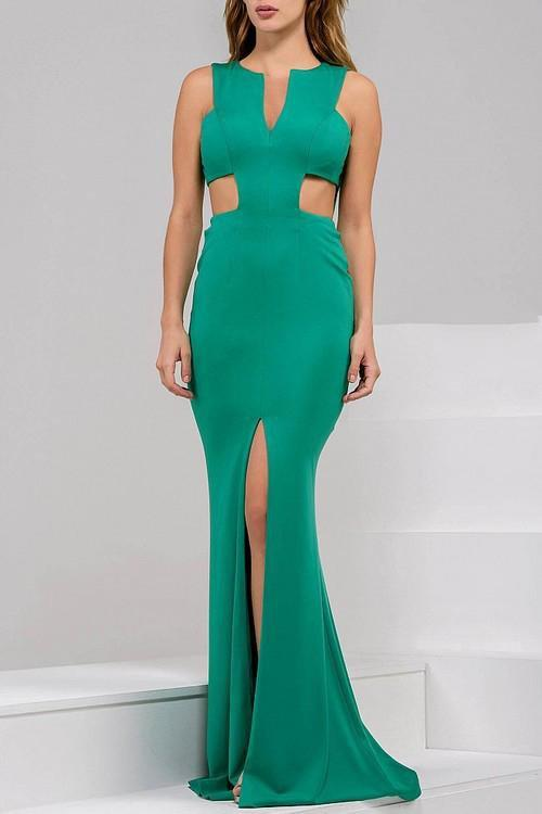 Jovani - Ravishing Long Dress with Side Cutout Bodice 39348 in Green