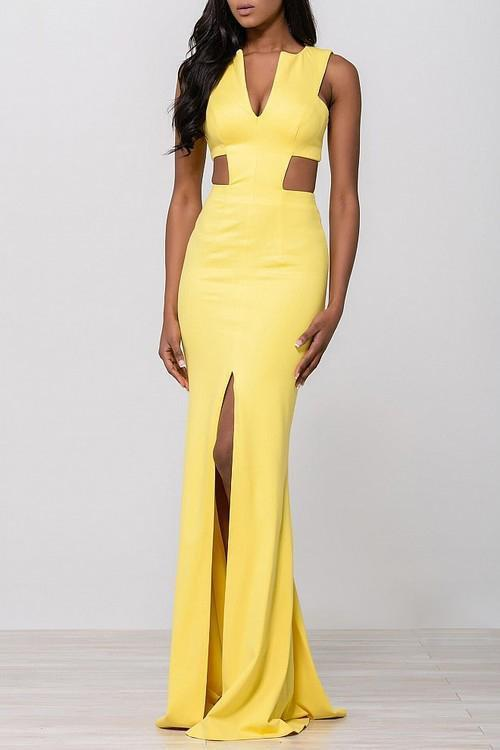 Jovani - Ravishing Long Dress with Side Cutout Bodice 39348 in Yellow
