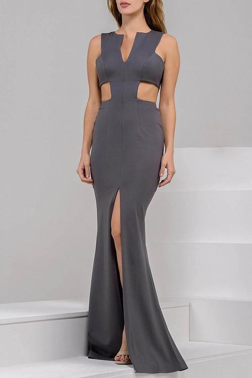 Jovani - Ravishing Long Dress with Side Cutout Bodice 39348 in Gray
