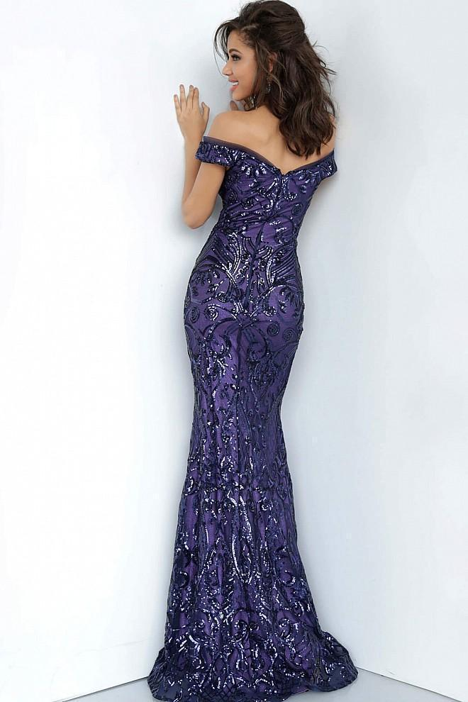 Jovani - JVN4296SC Sequin Ornate Off-Shoulder Sweetheart Neckline Prom Dress In Purple