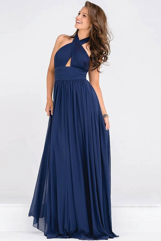 Jovani - Halter Neck Ruched Bodice Empire Waist Dress JVN47771 Special Occasion Dress