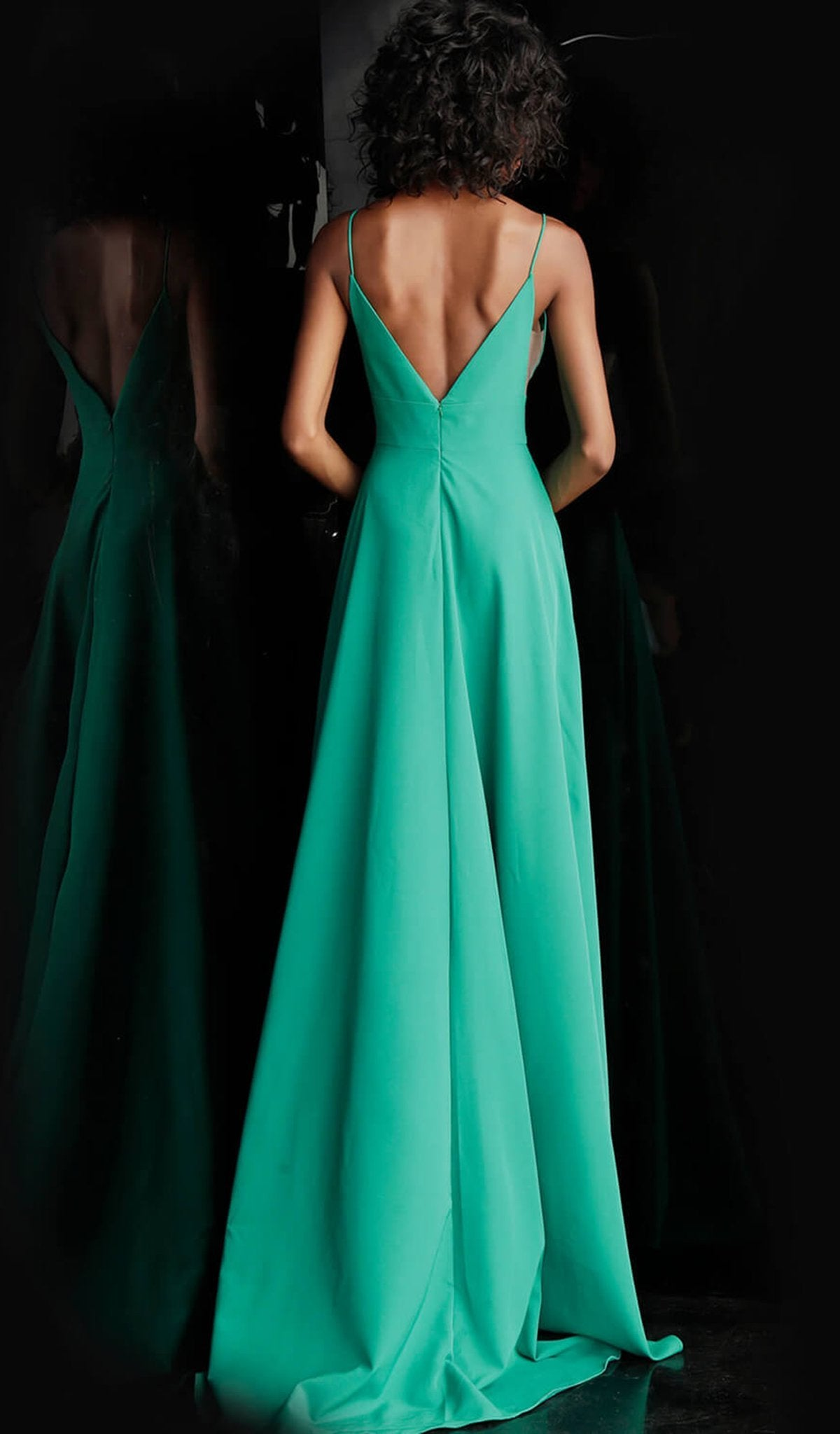 Jovani - Plunging Wrap-Over High Slit A-Line Evening Dress JVN68176 - 1 pc Green In Size 6 Available