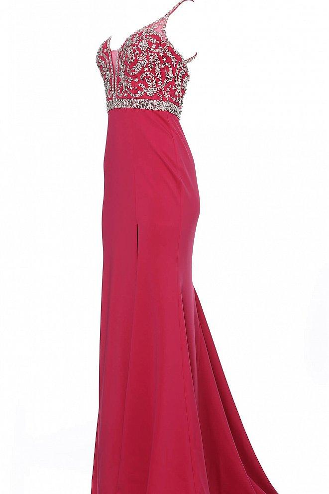 Jovani - JVN68317SC Jeweled Plunge Bodice High Slit Dress