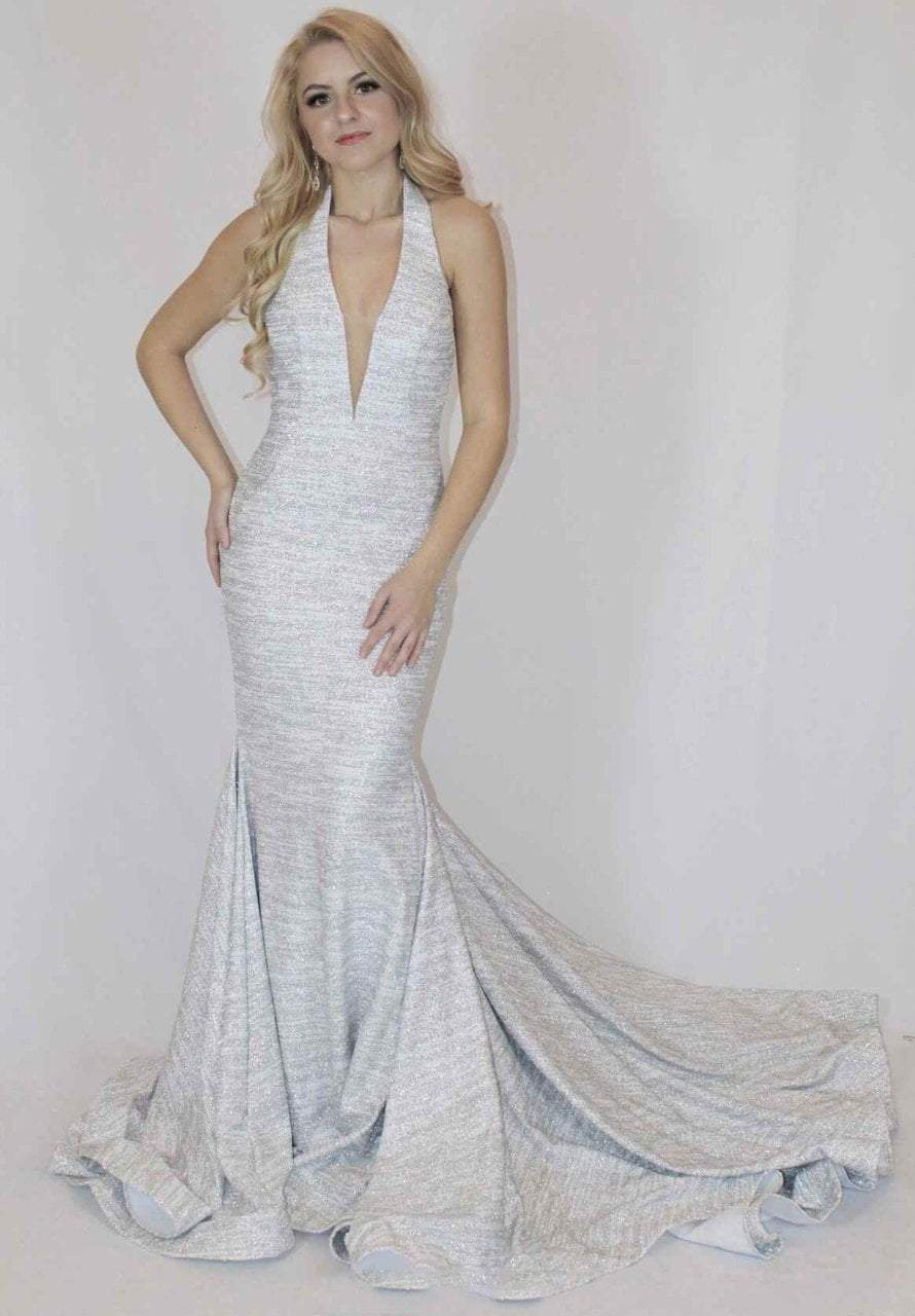 Jovani - 55414 Plunging Glitter Jersey Mermaid Gown in White