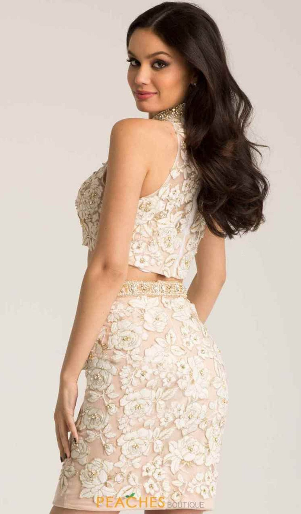 Jovani - 55241 Two Piece Floral Lace Fitted Short Dress in Ivory and Nude