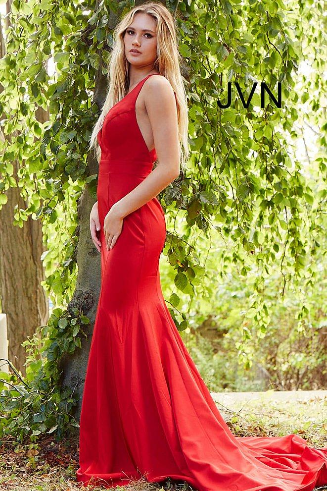 Jovani - JVN50333SC Deep V Neck Dress With Bow At Back
