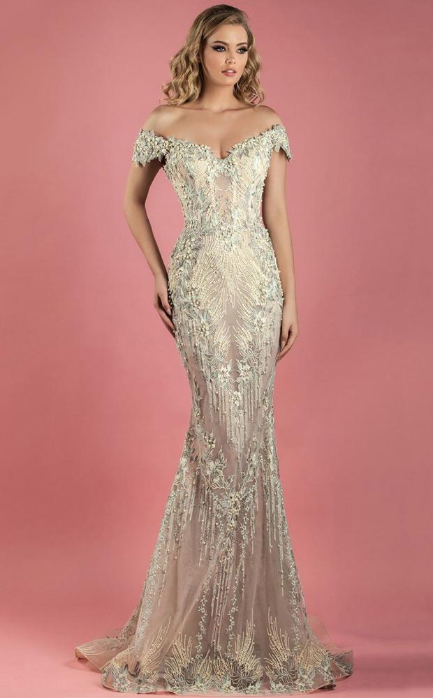 MNM COUTURE - K3555 Bedazzled Off-Shoulder Trumpet Dress In Neutral