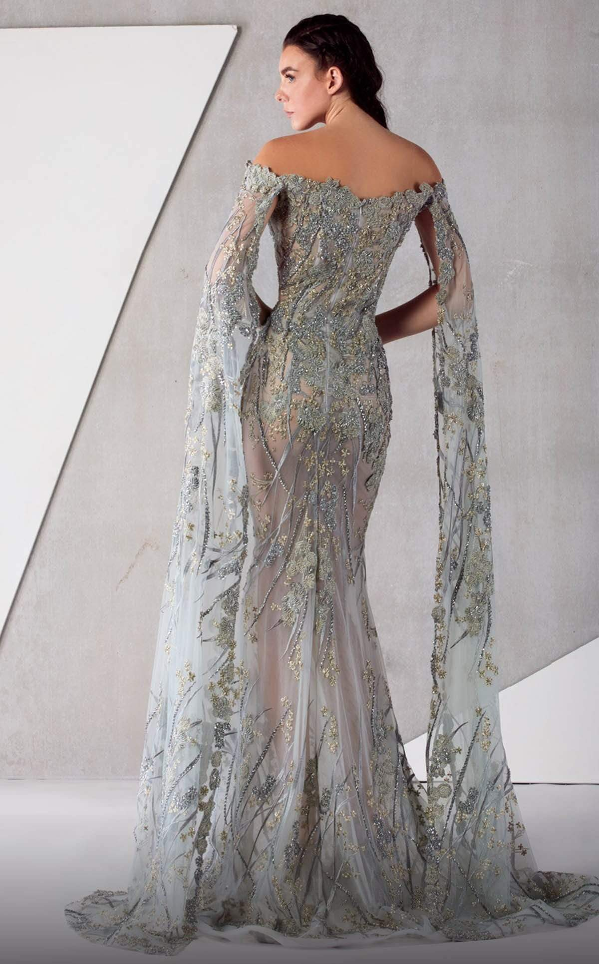 MNM COUTURE - K3763 Embroidered Off-Shoulder Trumpet Dress In Gray and Silver
