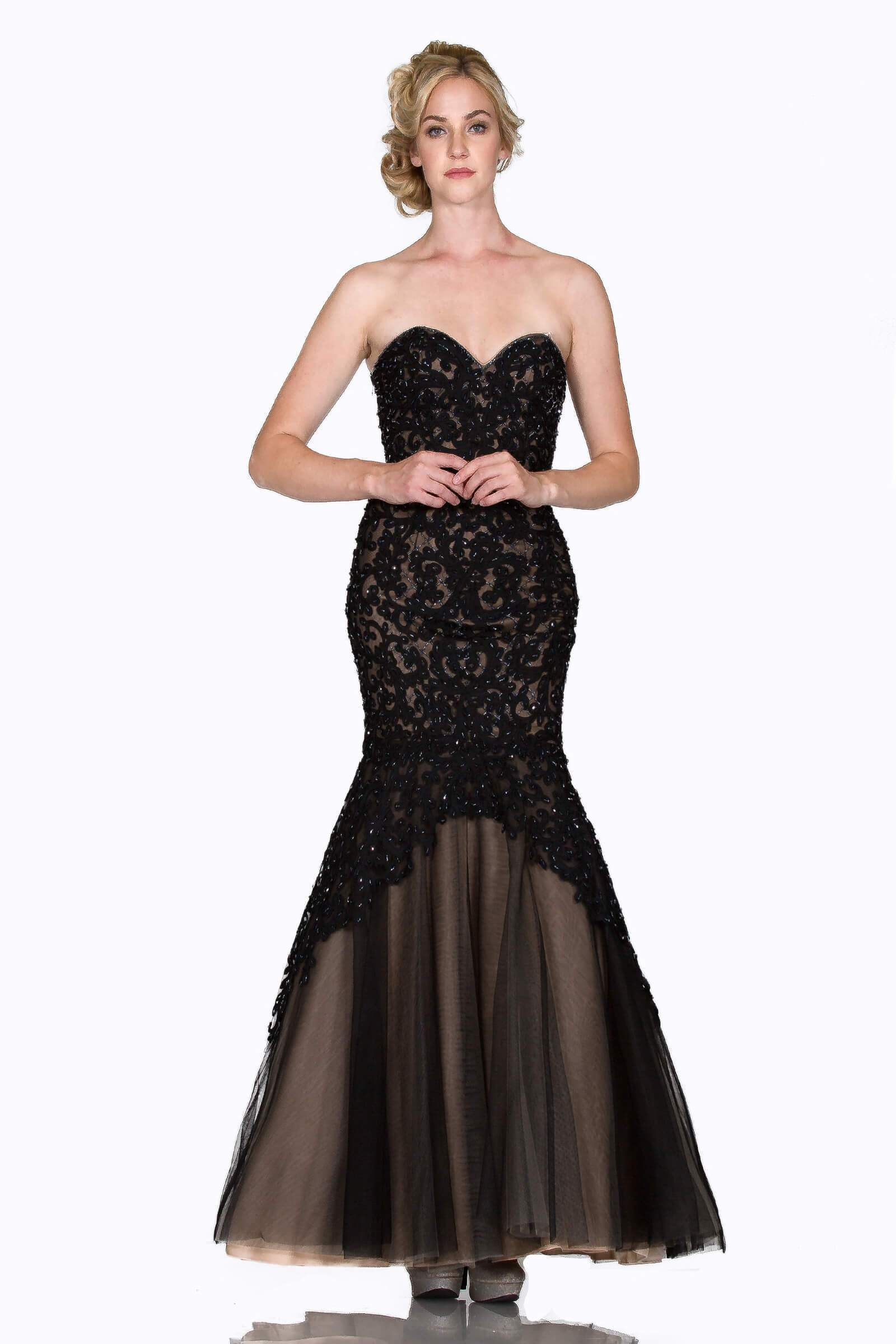 Cinderella Divine - KC1701 Strapless Sweetheart Beaded Lace Mermaid Gown In Black