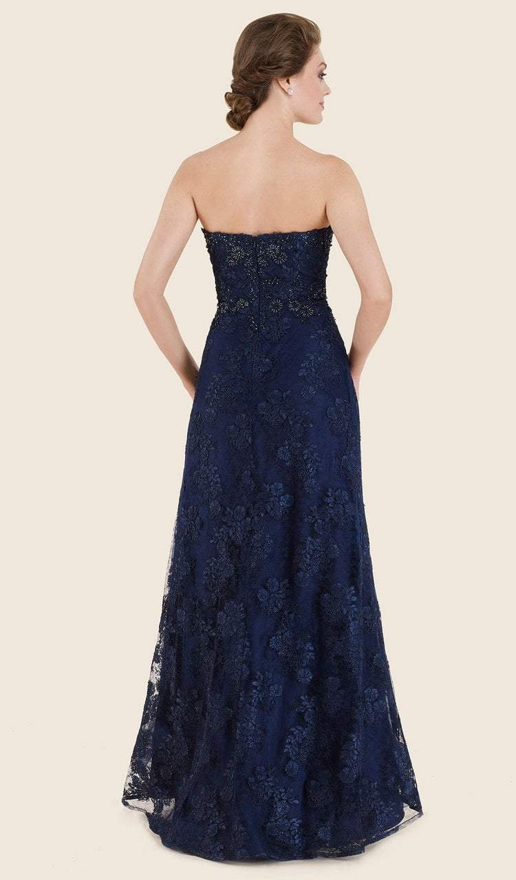Rina Di Montella - RD2627 Strapless Lace Sweetheart A-line Gown Special Occasion Dress 4 / Navy